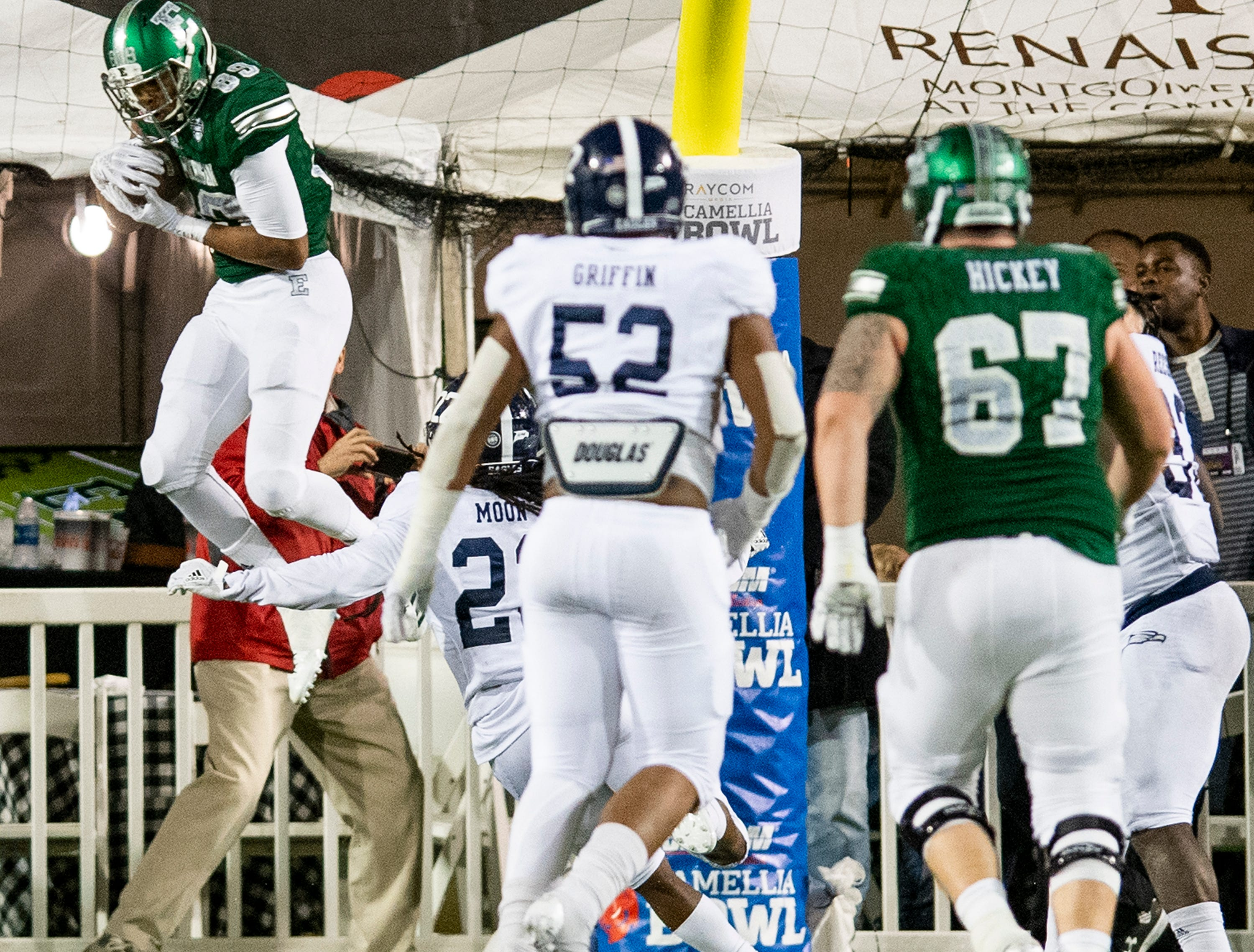 Eastern Michigan wide receiver Arthur Jackson, III, (89) catches a touchdown pass against Georgia Southern in the Raycom Media  Camellia Bowl held at Cramton Bowl in Montgomery, Ala., on Saturday December 15, 2018.