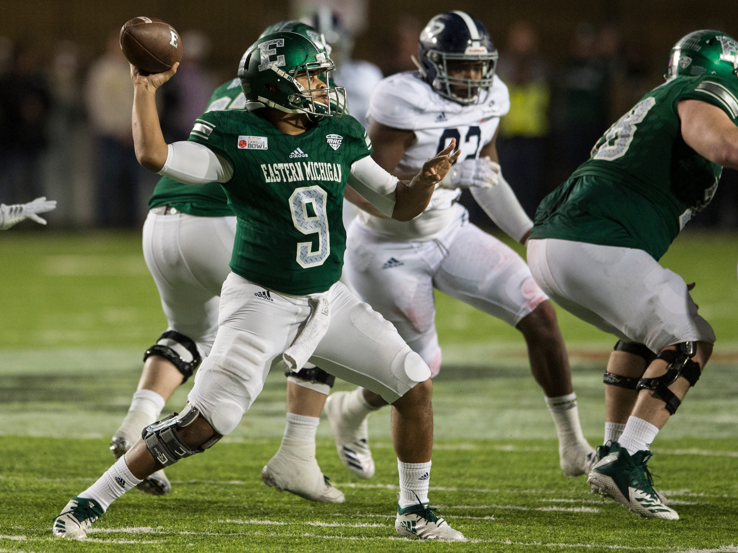 Eastern Michigan quarterback Mike Glass, III, (9) throws the ball during the Camellia Bowl at Cramton Bowl in Montgomery, Ala., on Saturday, Dec. 15, 2018. Georgia Southern defeated Eastern Michigan 23-21.