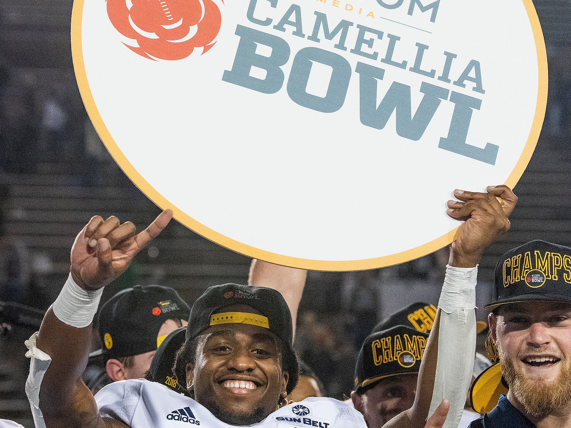 Georgia Southern running back Monteo Garrett (15) celebrates the win over Eastern Michigan in the Raycom Media  Camellia Bowl held at Cramton Bowl in Montgomery, Ala., on Saturday December 15, 2018.