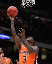 Auburn forward Danjel Purifoy (3) makes his first basket against UAB on Saturday, Dec. 15, 2018, in Birmingham, Ala.