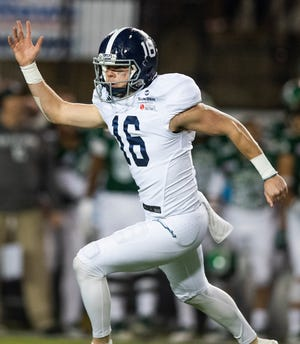 Georgia Southern placekicker Tyler Bass (16) celebrates after kicking the game winning field goal as time runs out defeat Eastern Michigan in the Raycom Media  Camellia Bowl held at Cramton Bowl in Montgomery, Ala., on Saturday December 15, 2018.
