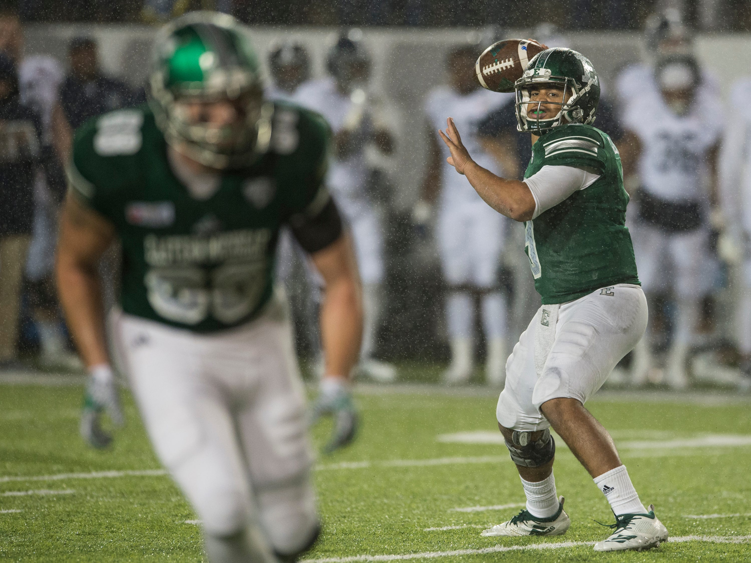 Eastern Michigan quarterback Mike Glass, III, (9) throws a screen pass during the Camellia Bowl at Cramton Bowl in Montgomery, Ala., on Saturday, Dec. 15, 2018. Georgia Southern defeated Eastern Michigan 23-21.
