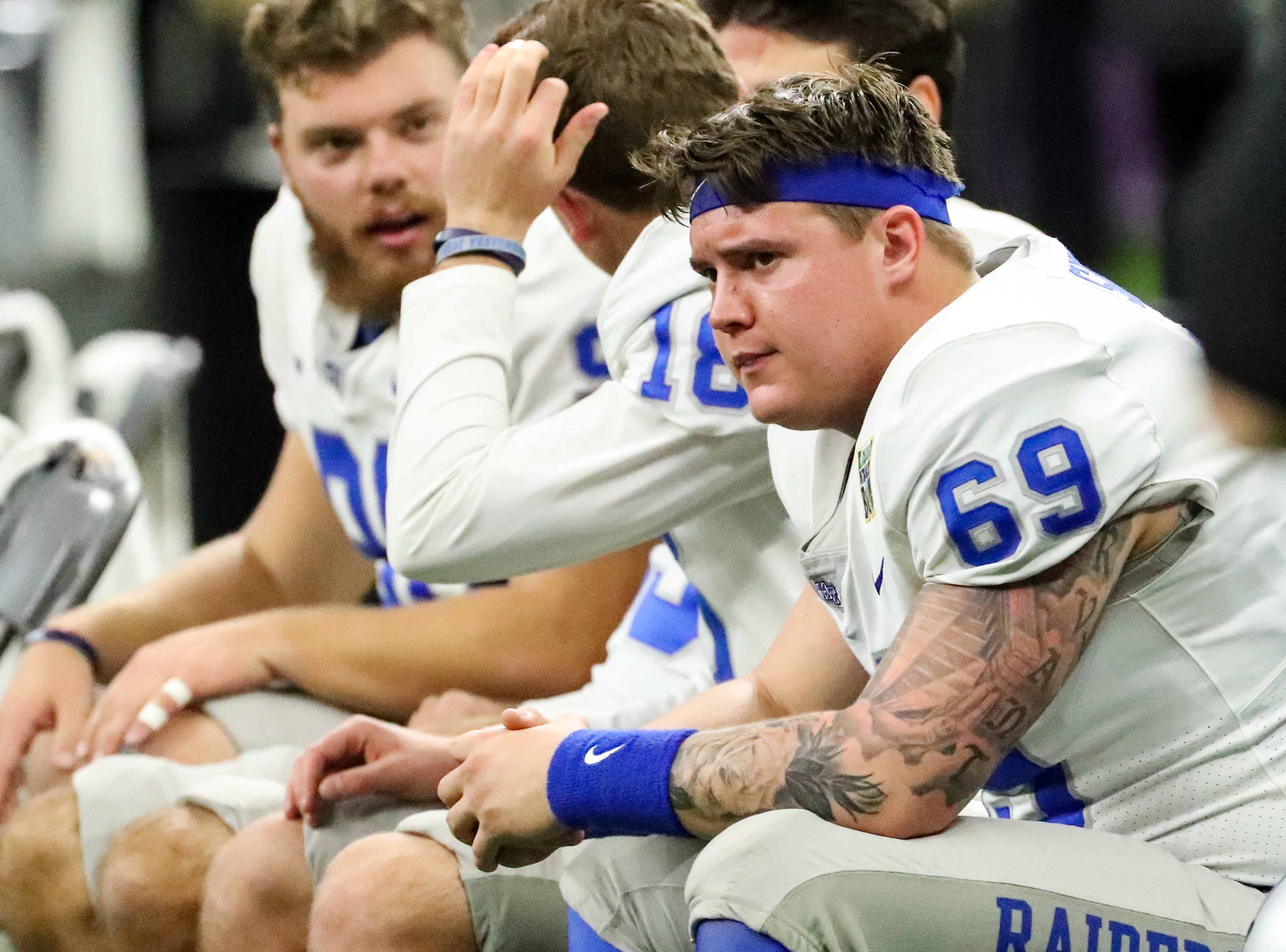 Middle Tennessee Blue Raiders long snapper Daniel Sargent (69) sits on the sidelines during the first half of the game as they are losing to Appalachian State Mountaineers at the Mercedes-Benz Superdome Saturday, Dec. 15, 2018, in New Orleans, La.