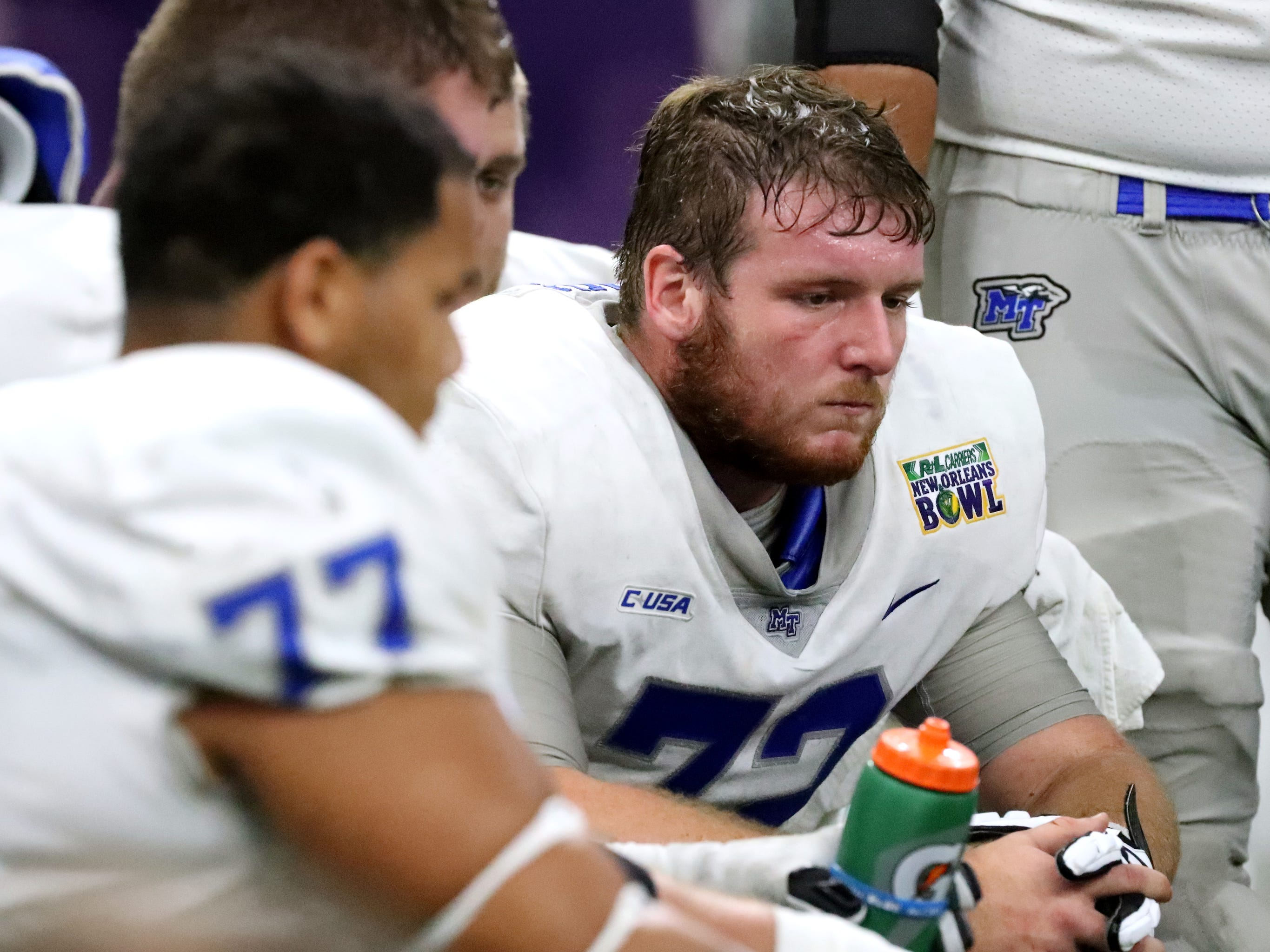 Middle Tennessee Blue Raiders offensive lineman Josh Fannin (72) on the sidelines during the 4th quarter as they loose to Appalachian State in the  in the New Orleans Bowl, on Saturday, Dec. 15, 2018.
