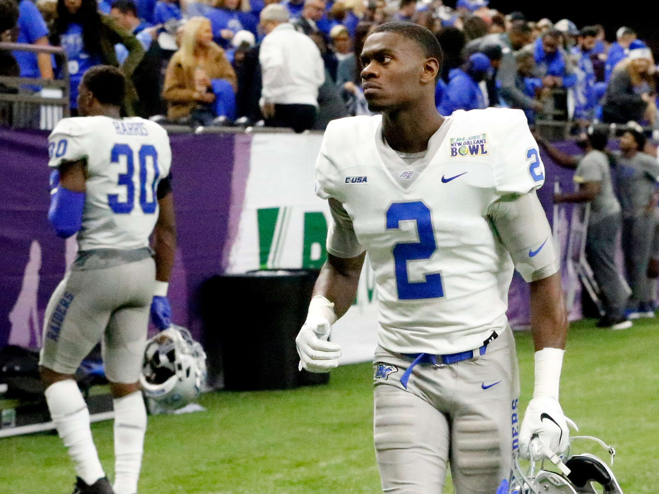 Middle Tennessee Blue Raiders defensive back Chris Stamps (2) walks off the field after the team loses to Appalachian State on Saturday, Dec. 15, 2018 , in the New Orleans Bowl.