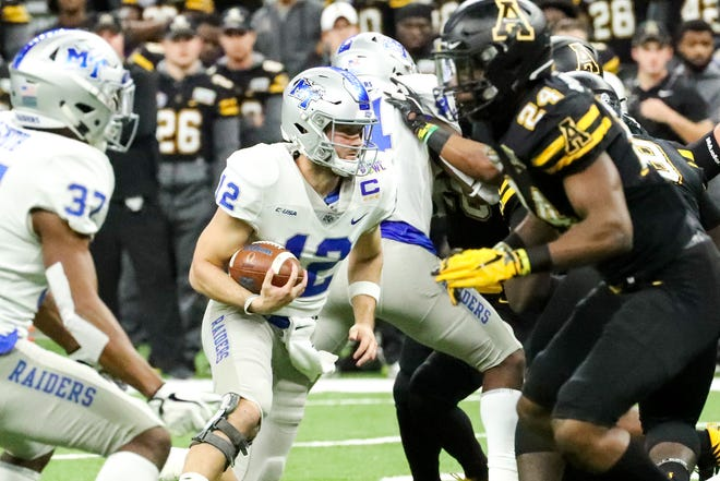 Middle Tennessee Blue Raiders quarterback Brent Stockstill (12) runs the ball during the first half at the Mercedes-Benz Superdome Saturday, Dec. 15, 2018, in New Orleans, La.