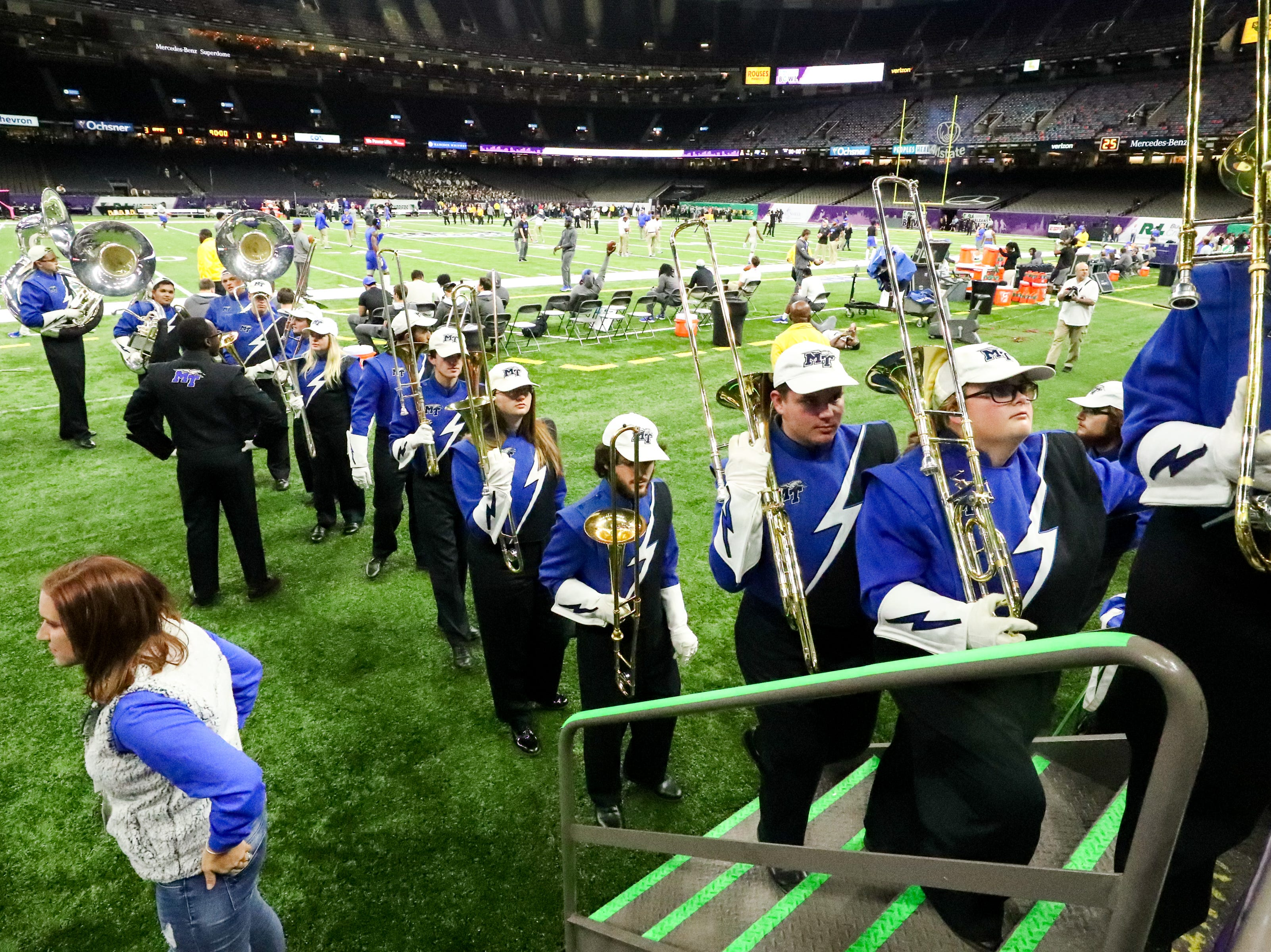 The Middle Tennessee Blue Raiders band enters the stands before the game at the Mercedes-Benz Superdome Saturday, Dec. 15, 2018, in New Orleans, La.