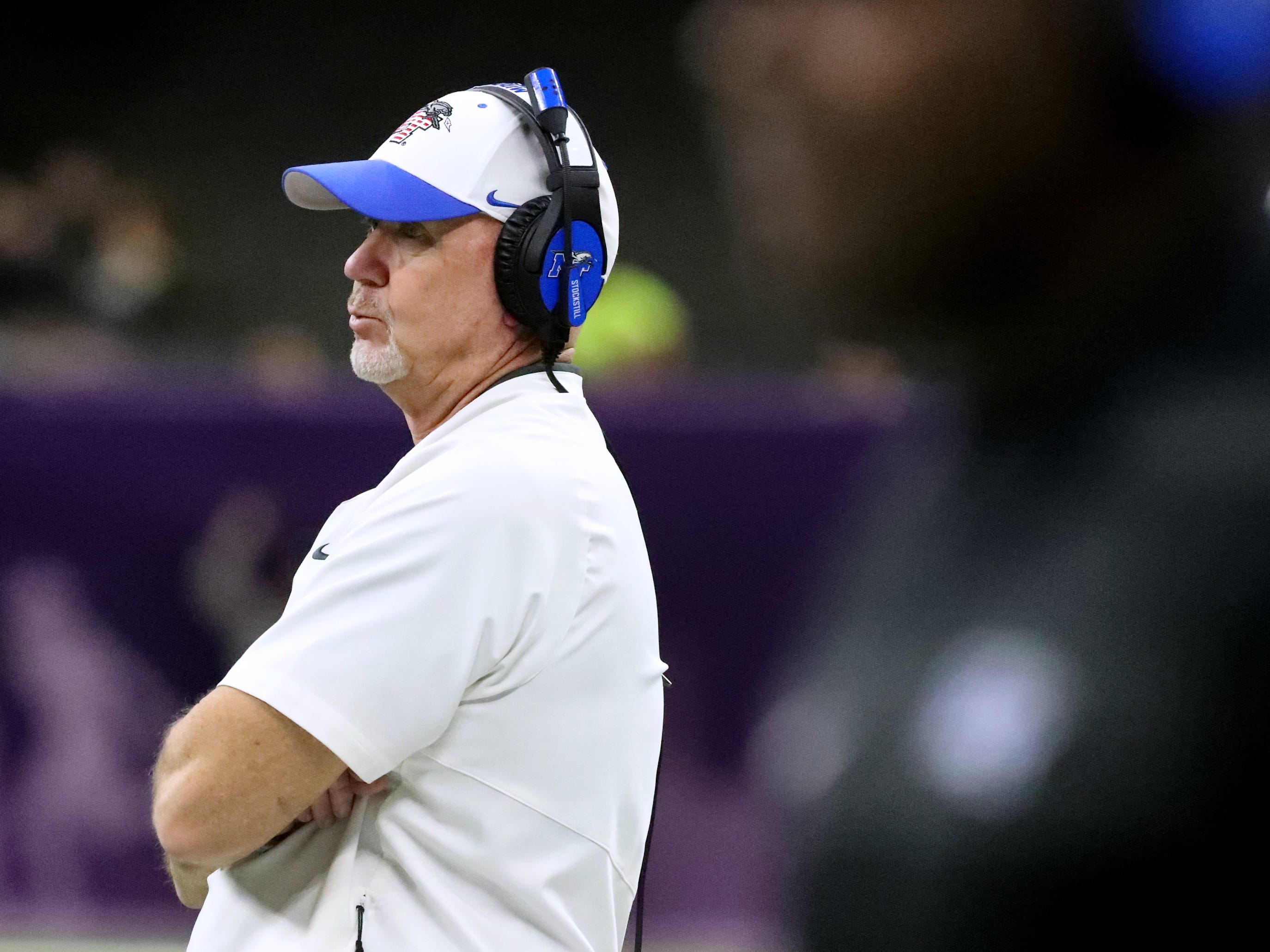 Middle Tennessee Blue Raiders head coach Rick Stockstill watches as Appalachian State makes an extra point during the New Orleans Bowl, on Saturday, Dec. 15, 2018.
