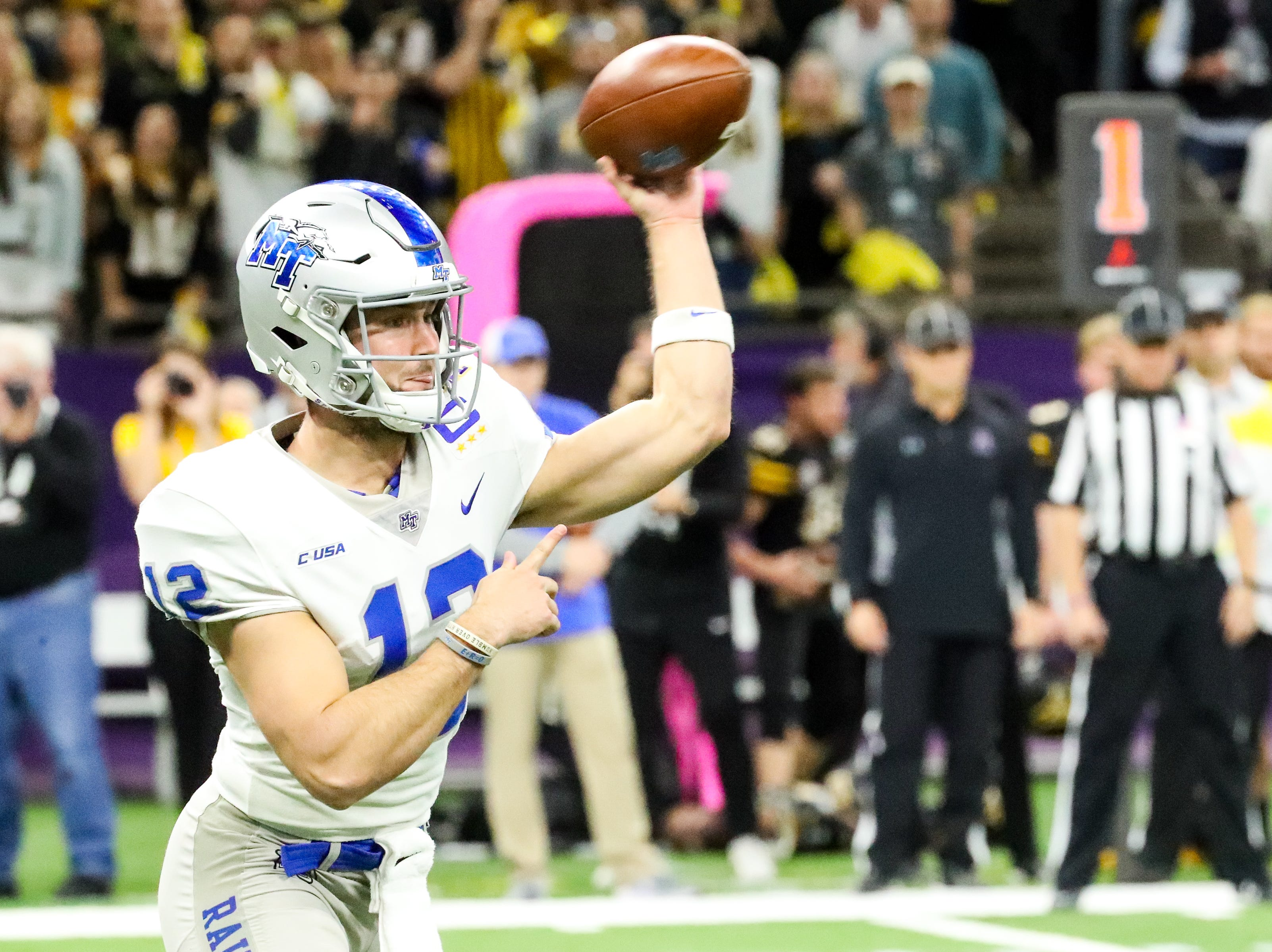 Middle Tennessee Blue Raiders quarterback Brent Stockstill (12) throws the ball during the first half at the Mercedes-Benz Superdome Saturday, Dec. 15, 2018, in New Orleans, La.