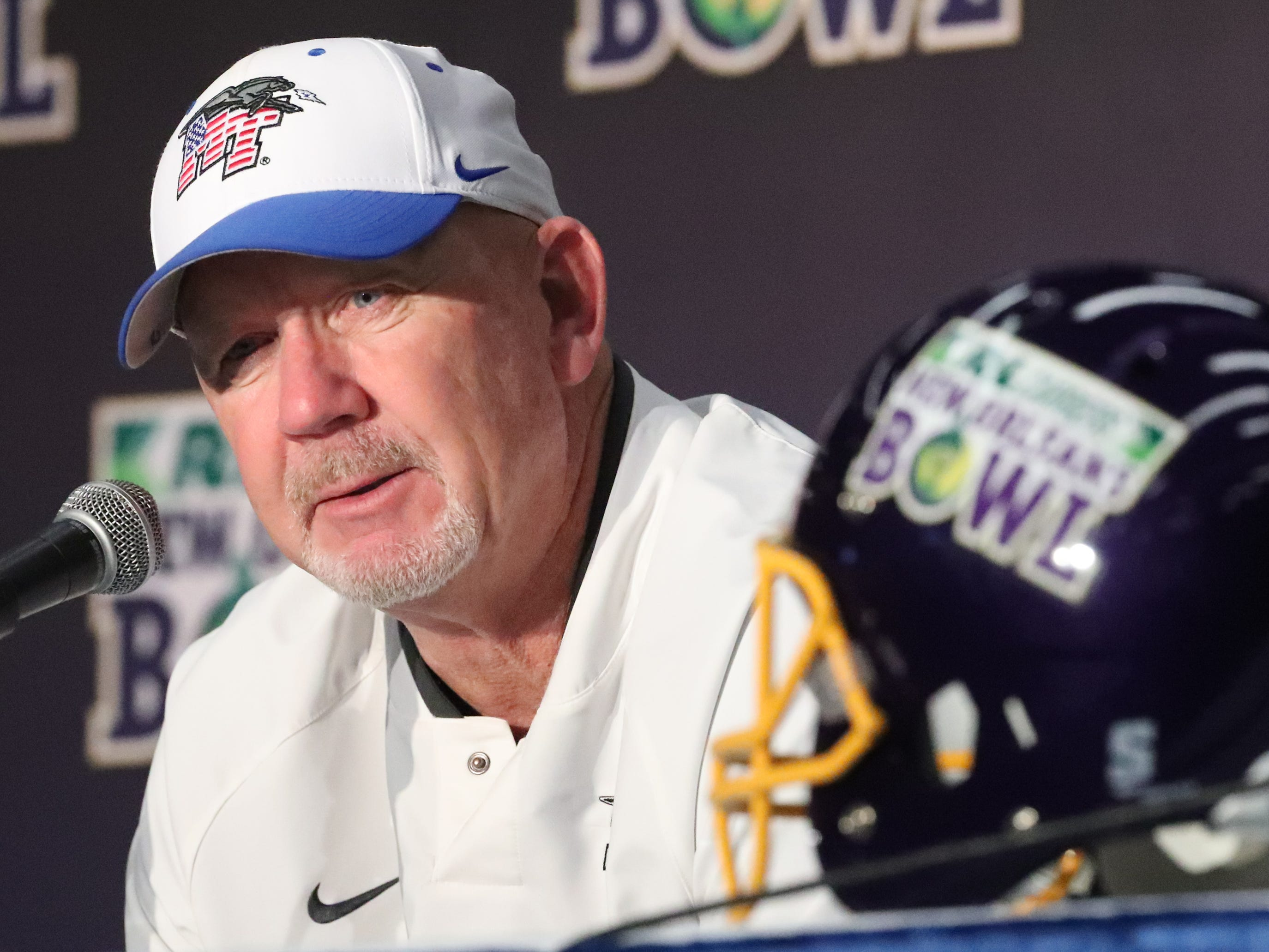 """Middle Tennessee Blue Raiders head coach Rick Stockstill talks about his son Middle Tennessee Blue Raiders quarterback Brent Stockstill (12) """"What he has done, what he has meant to this program, what he has meant to this team, words do him justice,"""" Rick said. """"He's a phenomenal human being, fantastic player, fantastic leader. I'm just very humbled to be his coach and now I get to be his dad."""" At the press conference after the lose to Appalachian State on Saturday, Dec. 15, 2018,  in the New Orleans Bowl."""