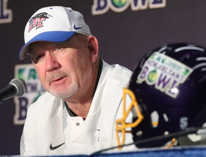 MTSU coach Rick Stockstill speaks after the Blue Raiders' 45-13 loss to App State in the New Orleans Bowl.