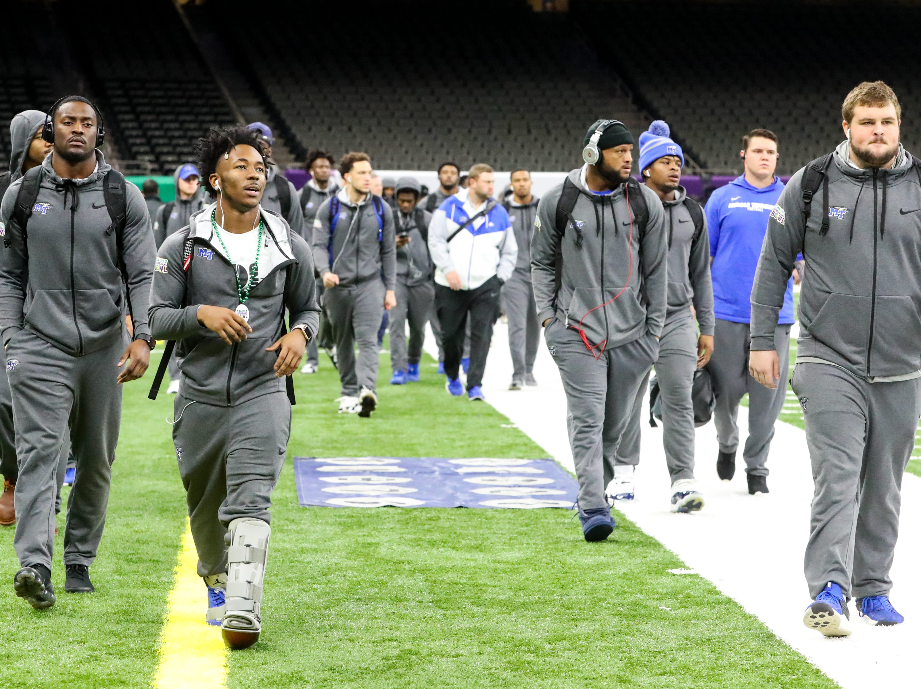Middle Tennessee Blue Raiders arrive at the Mercedes-Benz Superdome before the game Saturday, Dec. 15, 2018, in New Orleans, La.