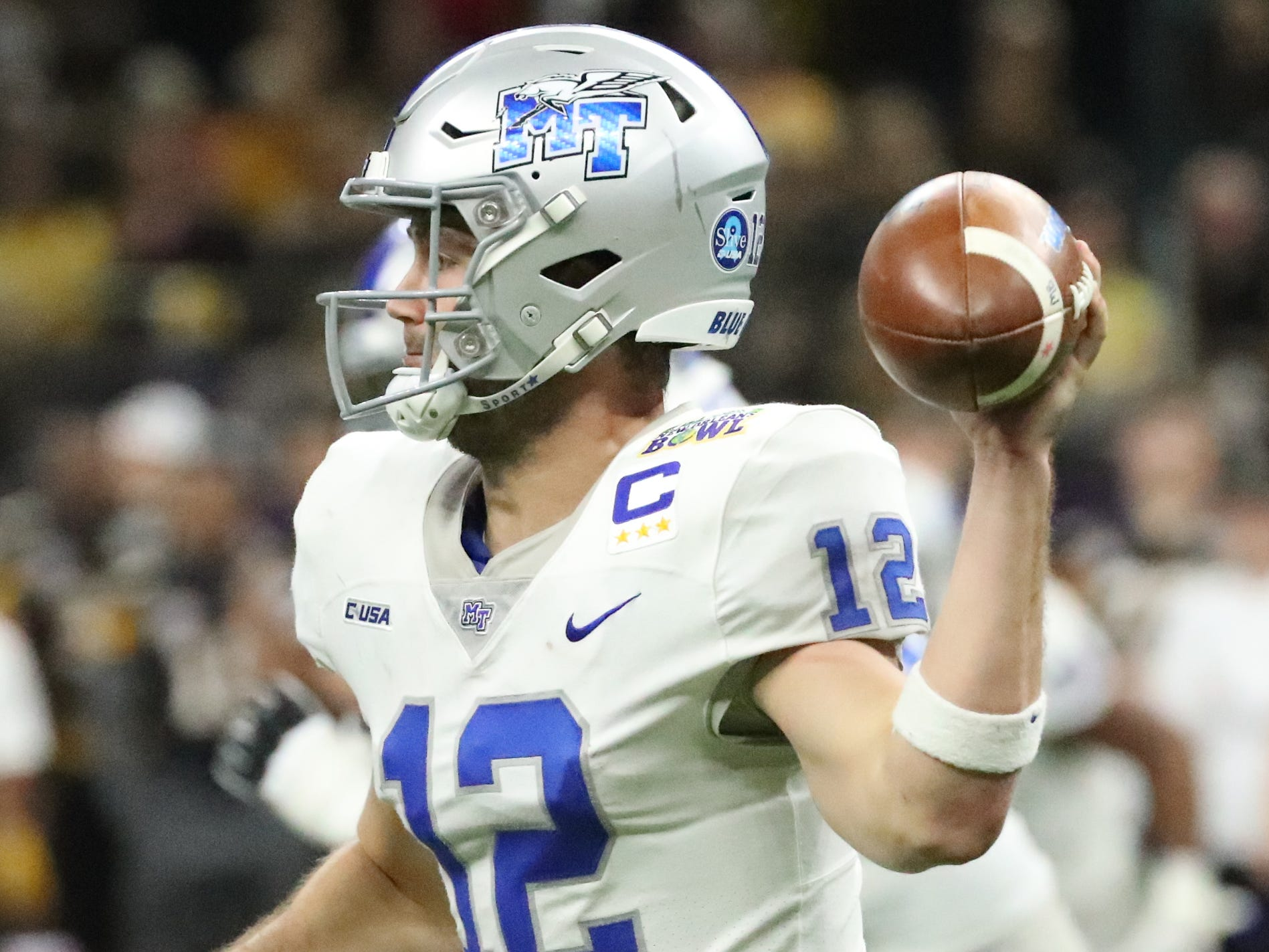 Middle Tennessee Blue Raiders quarterback Brent Stockstill (12) passes the ball during the game Appalachian State on Saturday, Dec. 15, 2018, during the New Orleans Bowl.