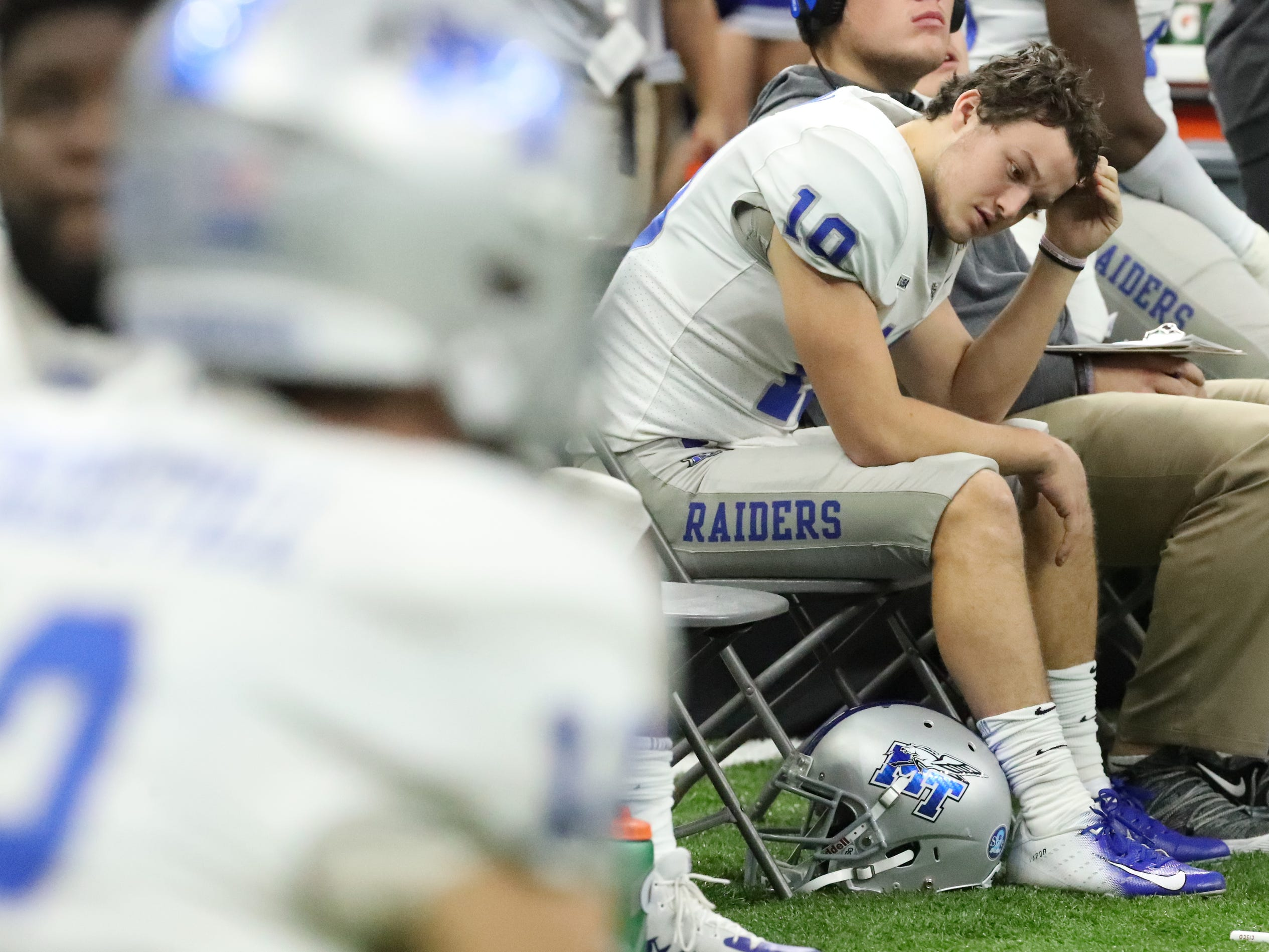 Middle Tennessee Blue Raiders quarterback Asher O'Hara (10) on the sidelines reacting to losing to Appalachian State on Saturday, Dec. 15, 2018, during the New Orleans Bowl.