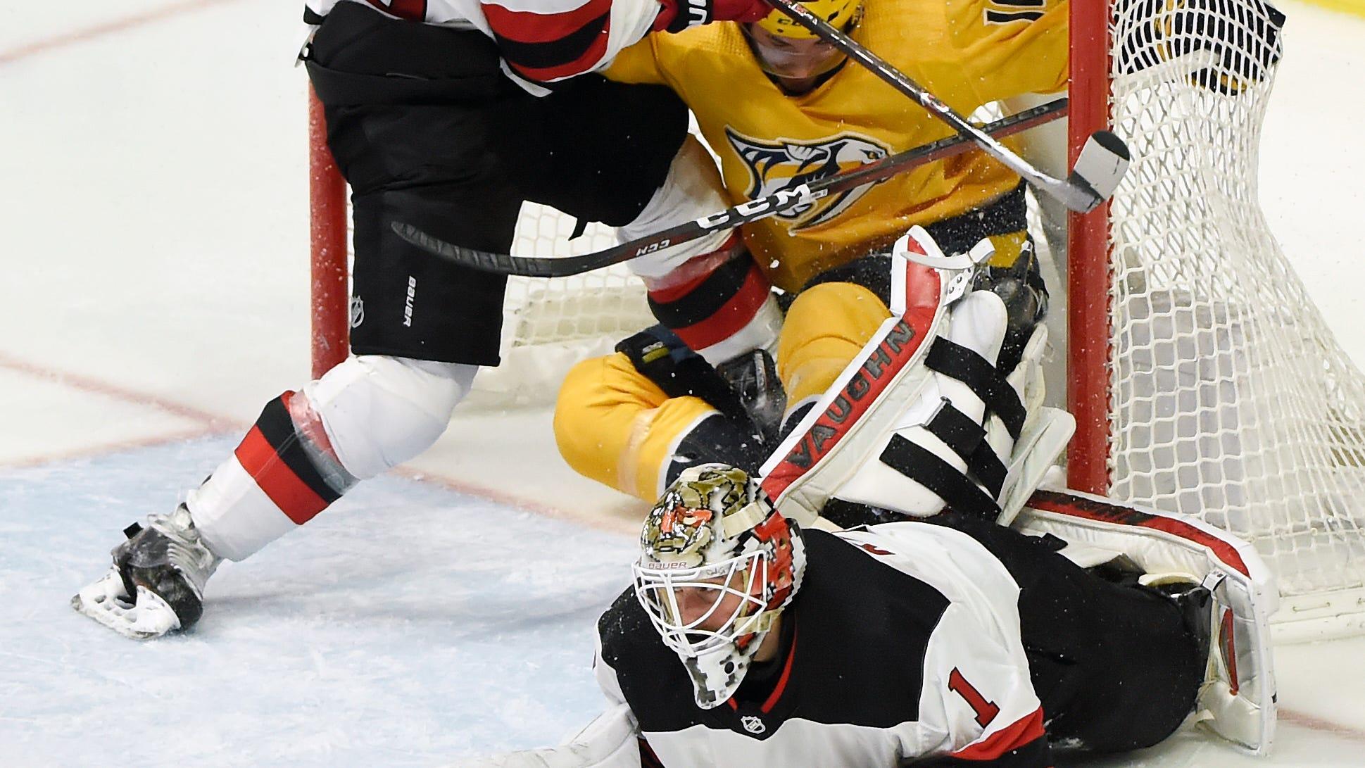 New Jersey Devils goaltender Keith Kinkaid (1)...