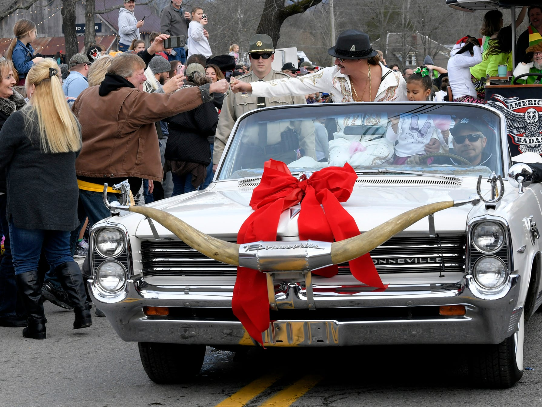 Kid Rock rides in the Leiper's Fork Christmas Parade on Saturday, Dec. 15, 2018.