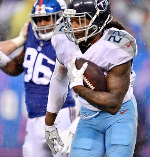 Titans running back Derrick Henry (22) has rushed for 882 yards this season.