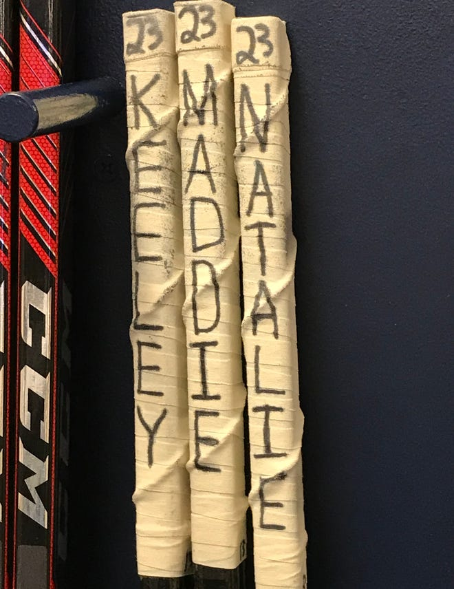 Nashville Predators player Rocco Grimaldi names his hockey sticks.