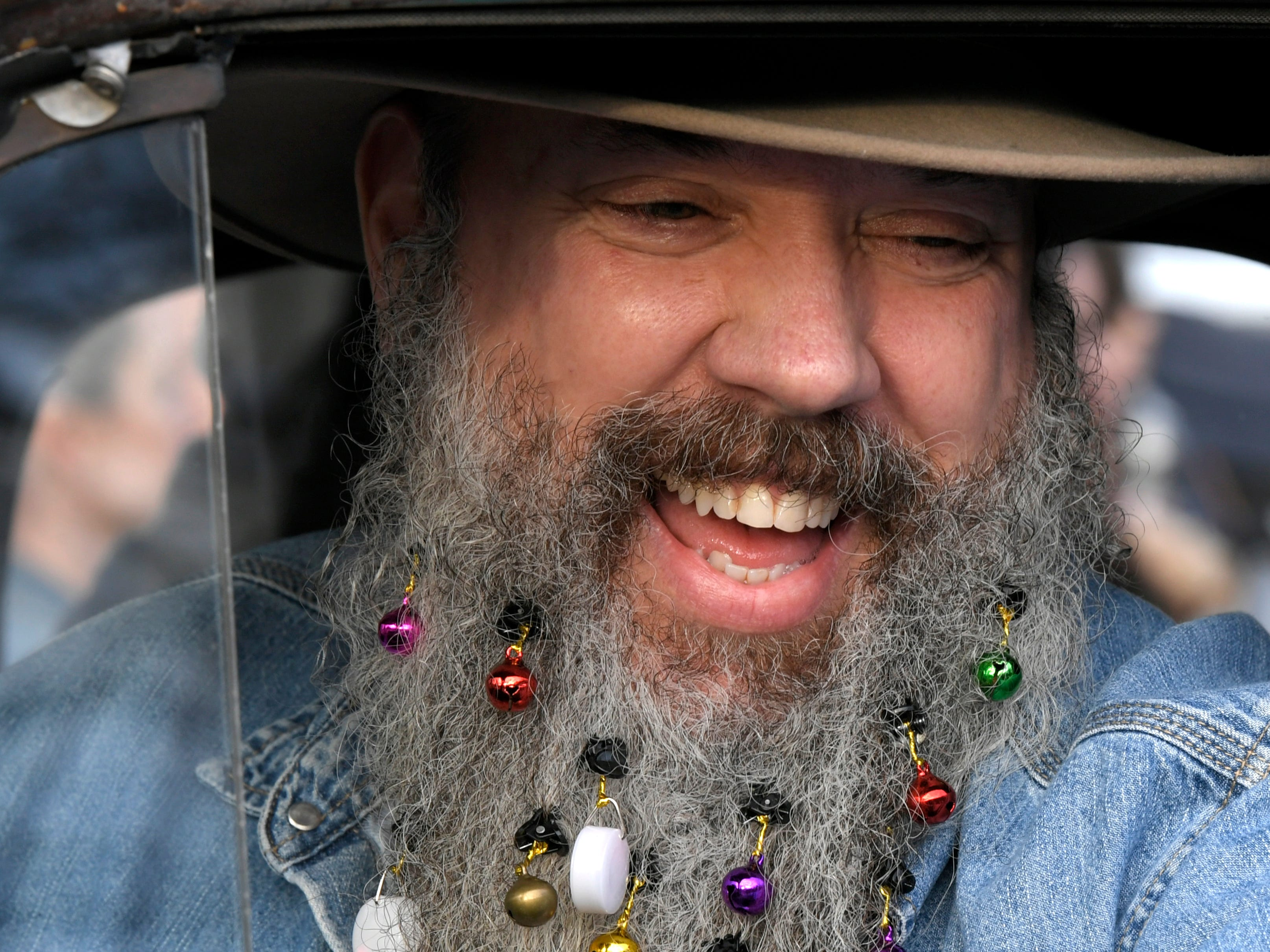 Robert Taylor decorated his beard for the Leipers Fork Christmas Parade on Saturday, Dec. 15, 2018.