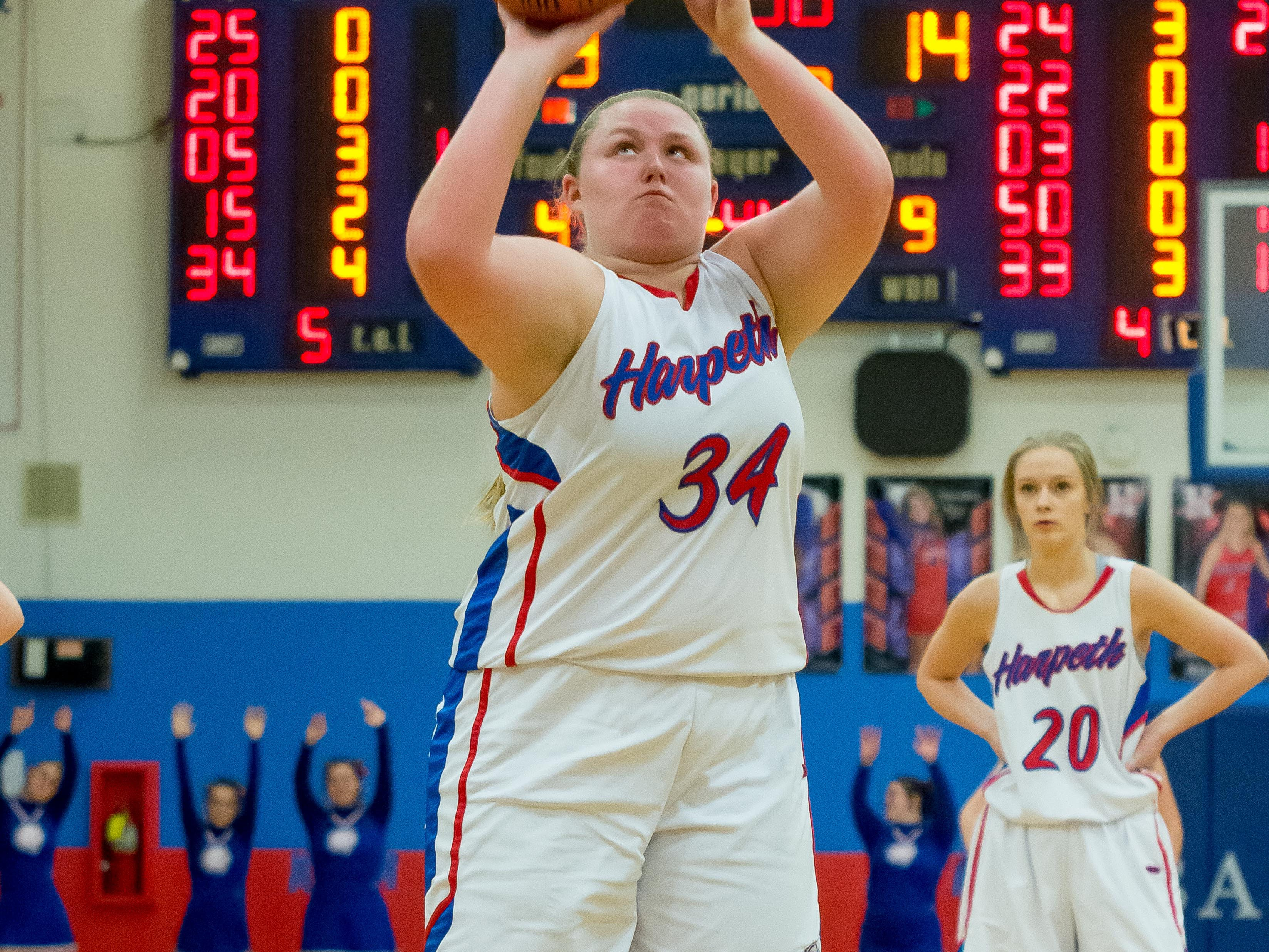 Harpeth's Leigha Adams shoots a free throw against Greenbrier. She had 15 against the Lady Bobcats.