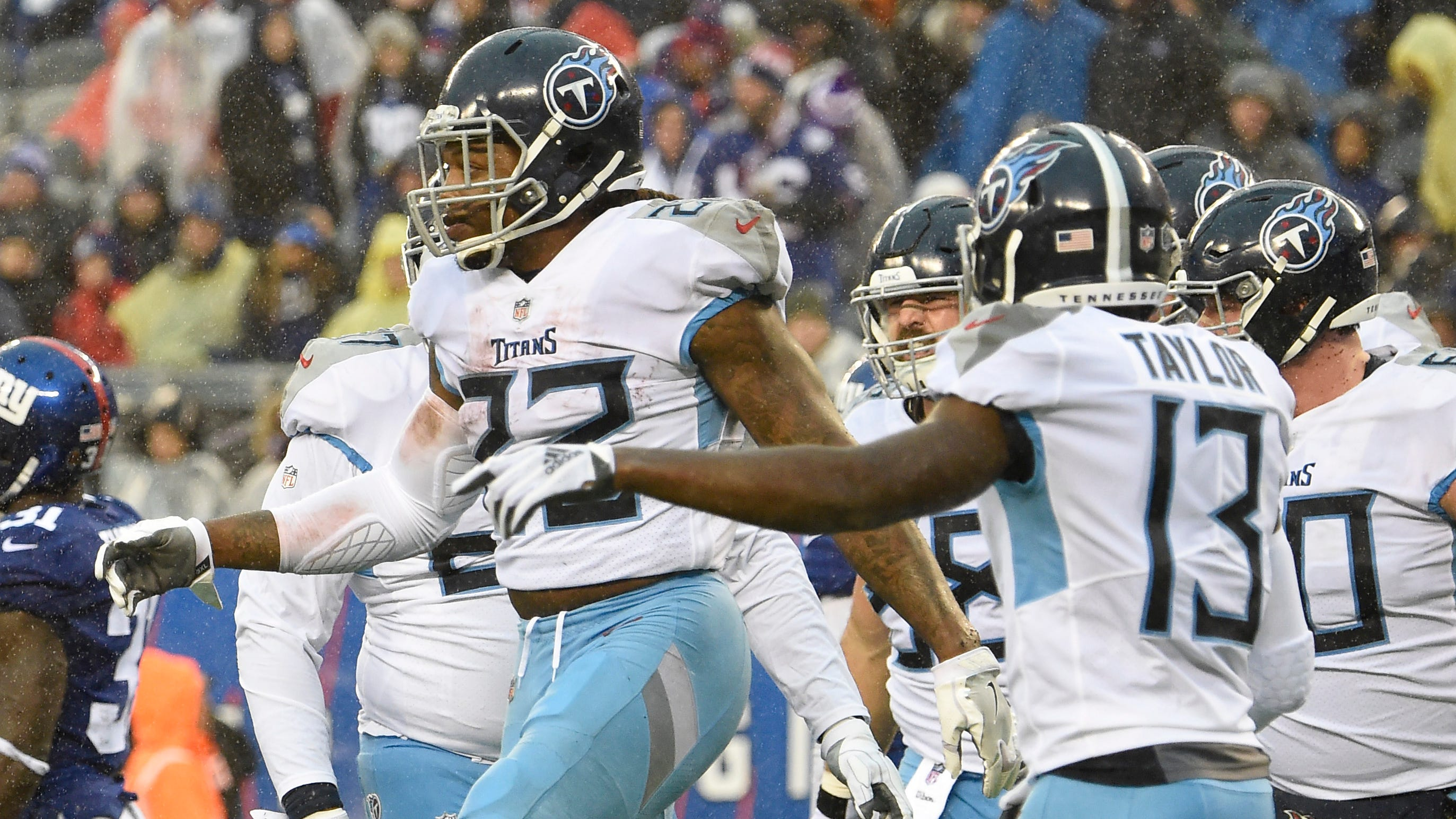 Titans running back Derrick Henry (22) celebrates his touchdown in the first quarter at MetLife Stadium Sunday, Dec. 16, 2018, in East Rutherford, N.J.