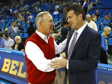 Belmont coach Rick Byrd, left, and UCLA coach Steve Alford at Saturday's game at Pauley Pavilion.
