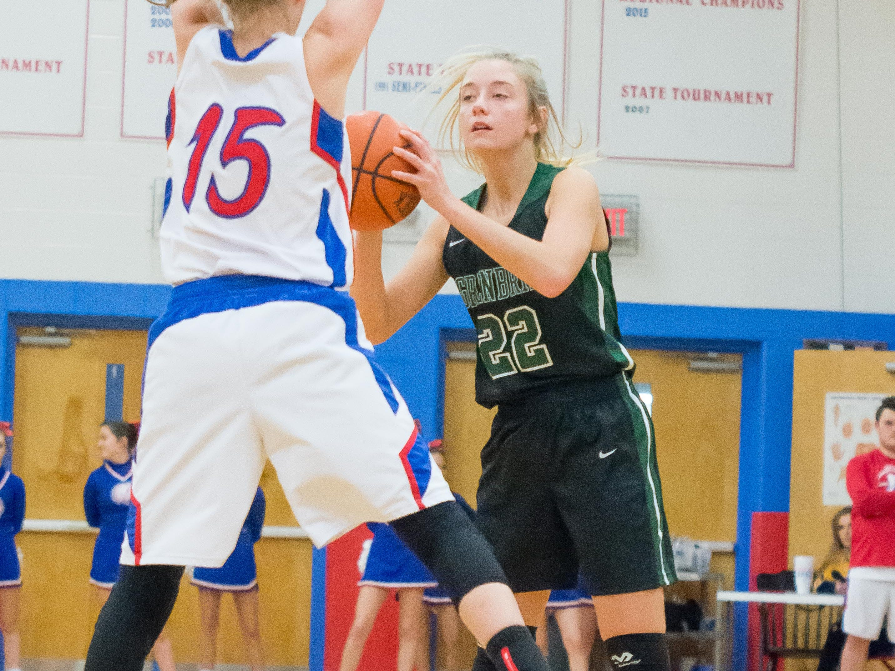 Greenbrier's Snowden Scott is defended by Harpeth.