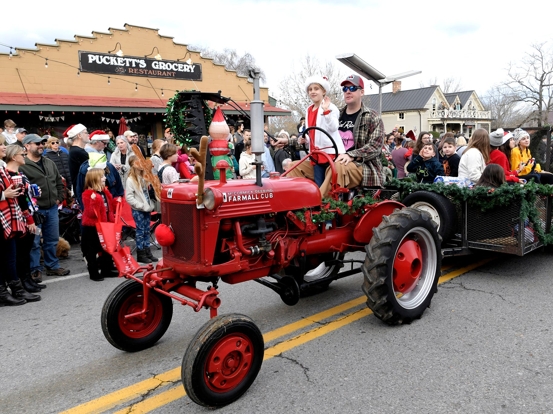 Antique tractors were part of the Leiper's Fork Christmas Parade on Saturday, Dec. 15, 2018.