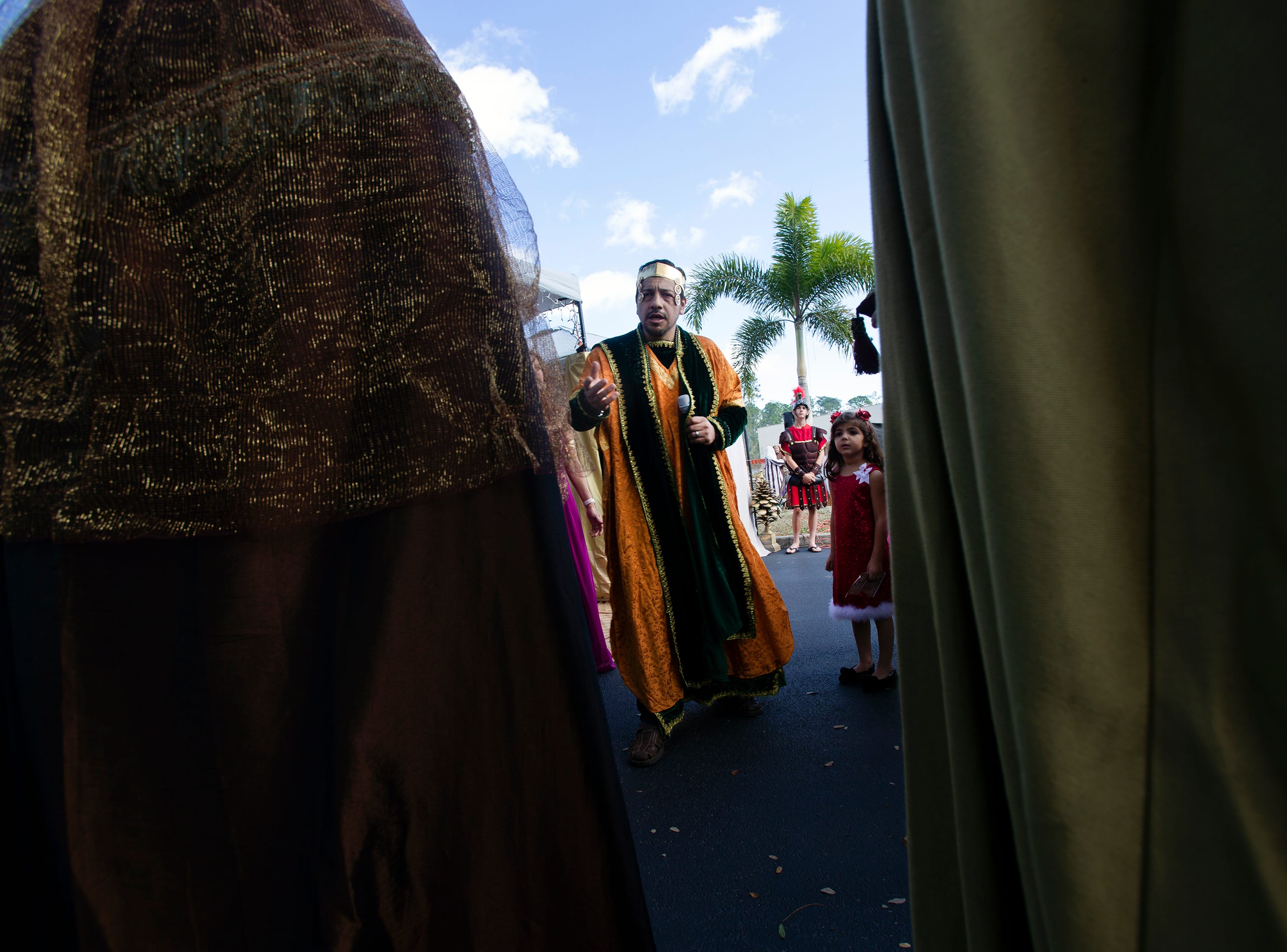 Alejandro Garcia plays King Herod the Great during a live nativity scene at St. Agnes Catholic Church on Sunday, Dec. 16, 2018, in East Naples.