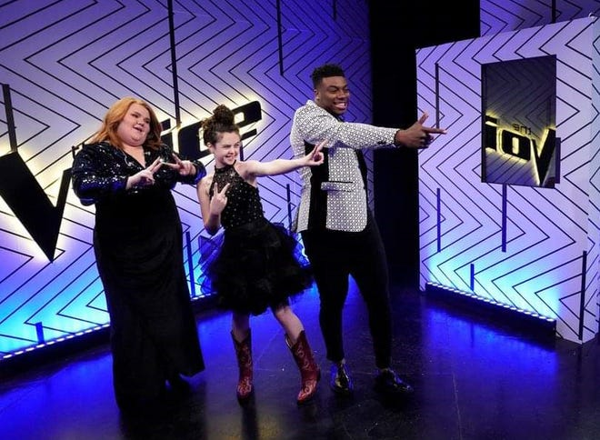 """Chevel Shepherd, center, will be back on stage Monday night for the final top four competition on NBC's """"The Voice."""" The winner of a recording contract will be announced Tuesday."""
