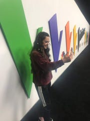 """Contestant Chevel Shepherd is seen behind the scenes in """"The Voice"""" soundstage in this undated photo."""