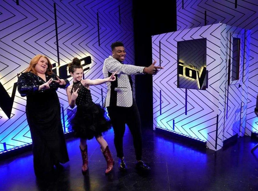 Contestant Chevel Shepherd behind the scenes on The Voice
