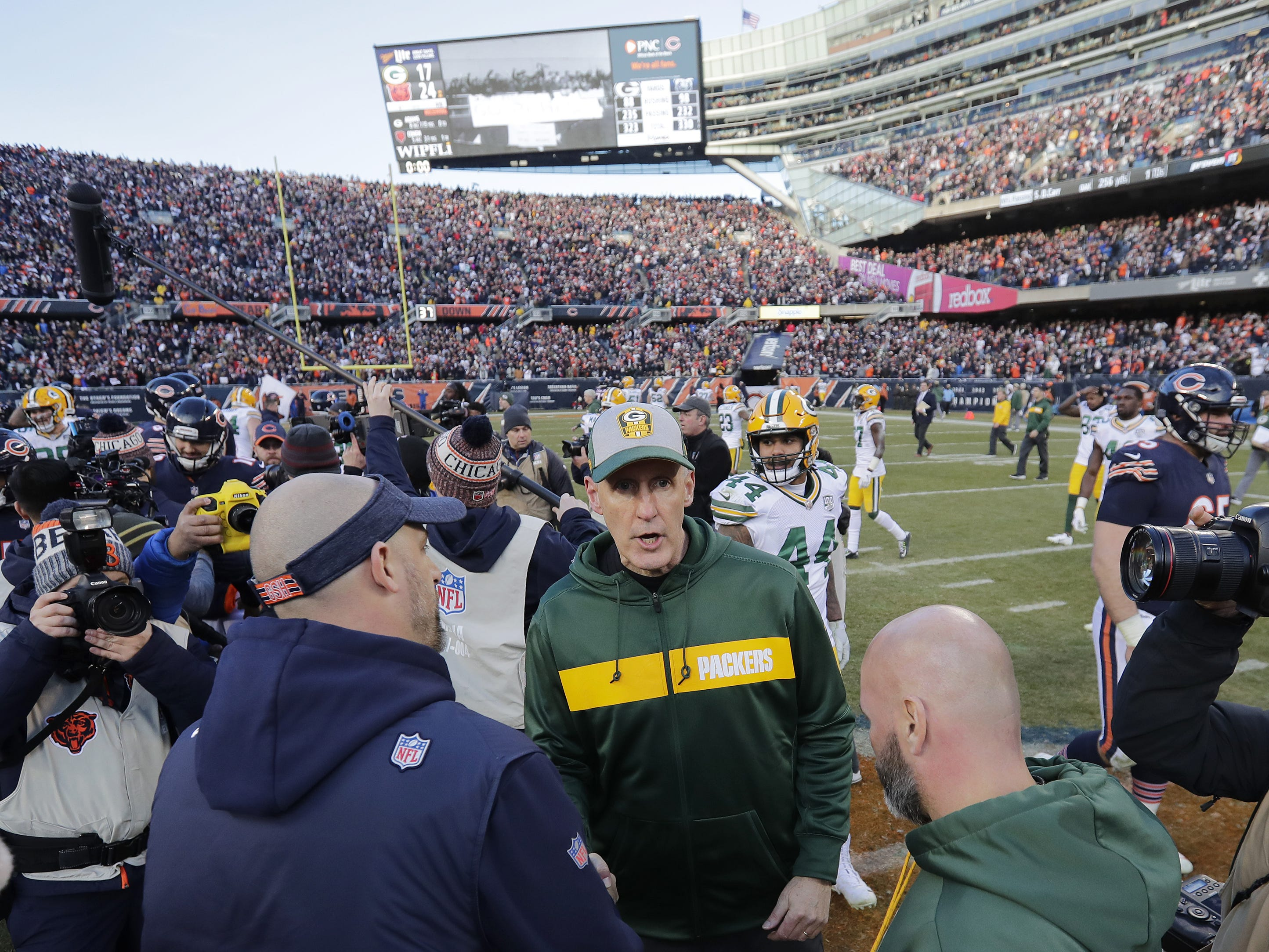 Green Bay Packers head coach Joe Philbin talks to Chicago Bears head coach Matt Nagy after the Bears beat the Packers at Soldier Field on Sunday, December 16, 2018 in Chicago, Illinois. Adam Wesley/USA TODAY NETWORK-Wis