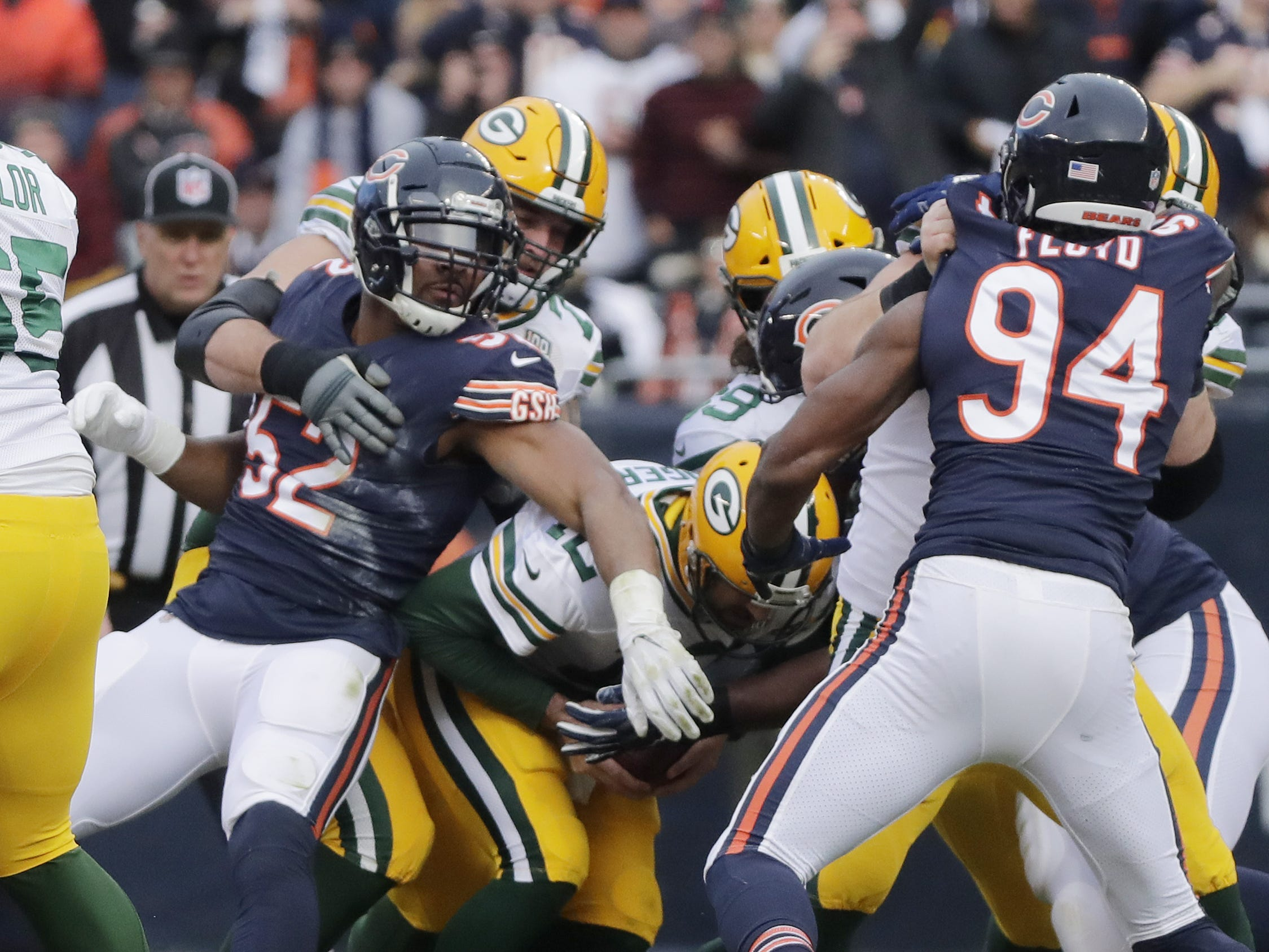Chicago Bears outside linebacker Khalil Mack (52) sacks Green Bay Packers quarterback Aaron Rodgers (12) in the first quarter at Soldier Field on Sunday, December 16, 2018 in Chicago, Illinois. Adam Wesley/USA TODAY NETWORK-Wis