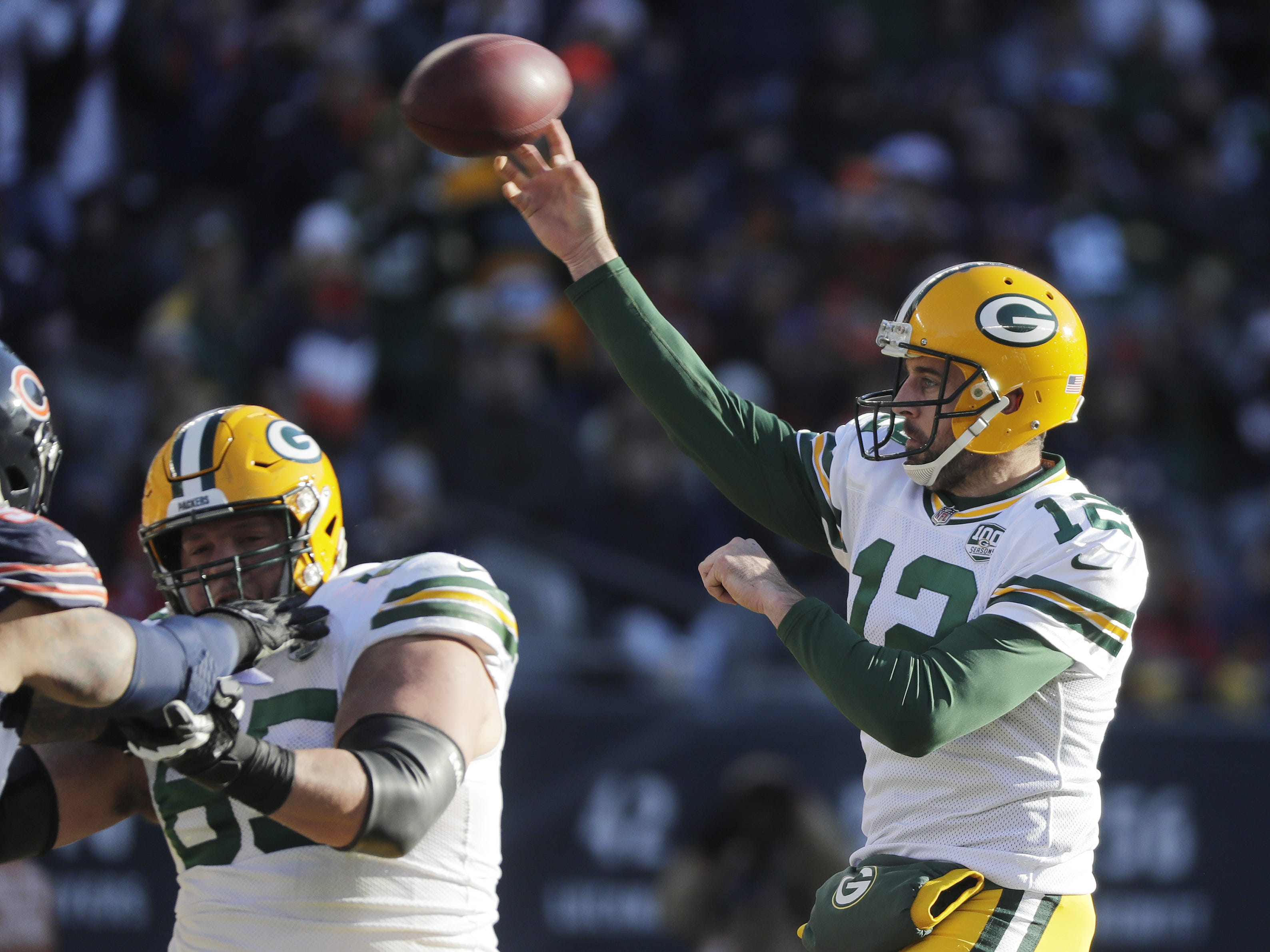 Green Bay Packers quarterback Aaron Rodgers (12) throws in the third quarter against the Chicago Bears at Soldier Field on Sunday, December 16, 2018 in Chicago, Illinois. Adam Wesley/USA TODAY NETWORK-Wis
