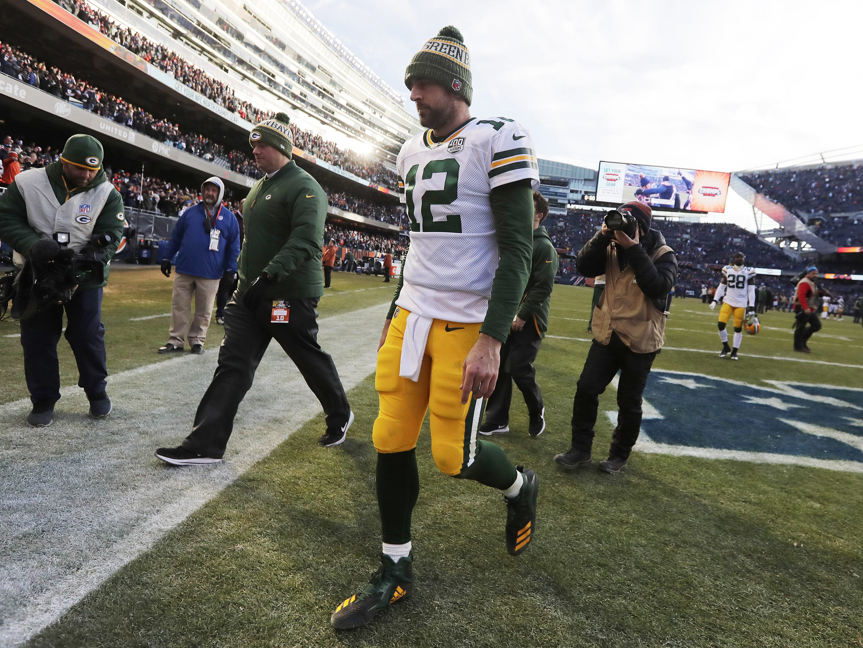 Green Bay Packers quarterback Aaron Rodgers (12) walks off the field after the Chicago Bears beat the Packers at Soldier Field on Sunday, December 16, 2018 in Chicago, Illinois. Adam Wesley/USA TODAY NETWORK-Wis