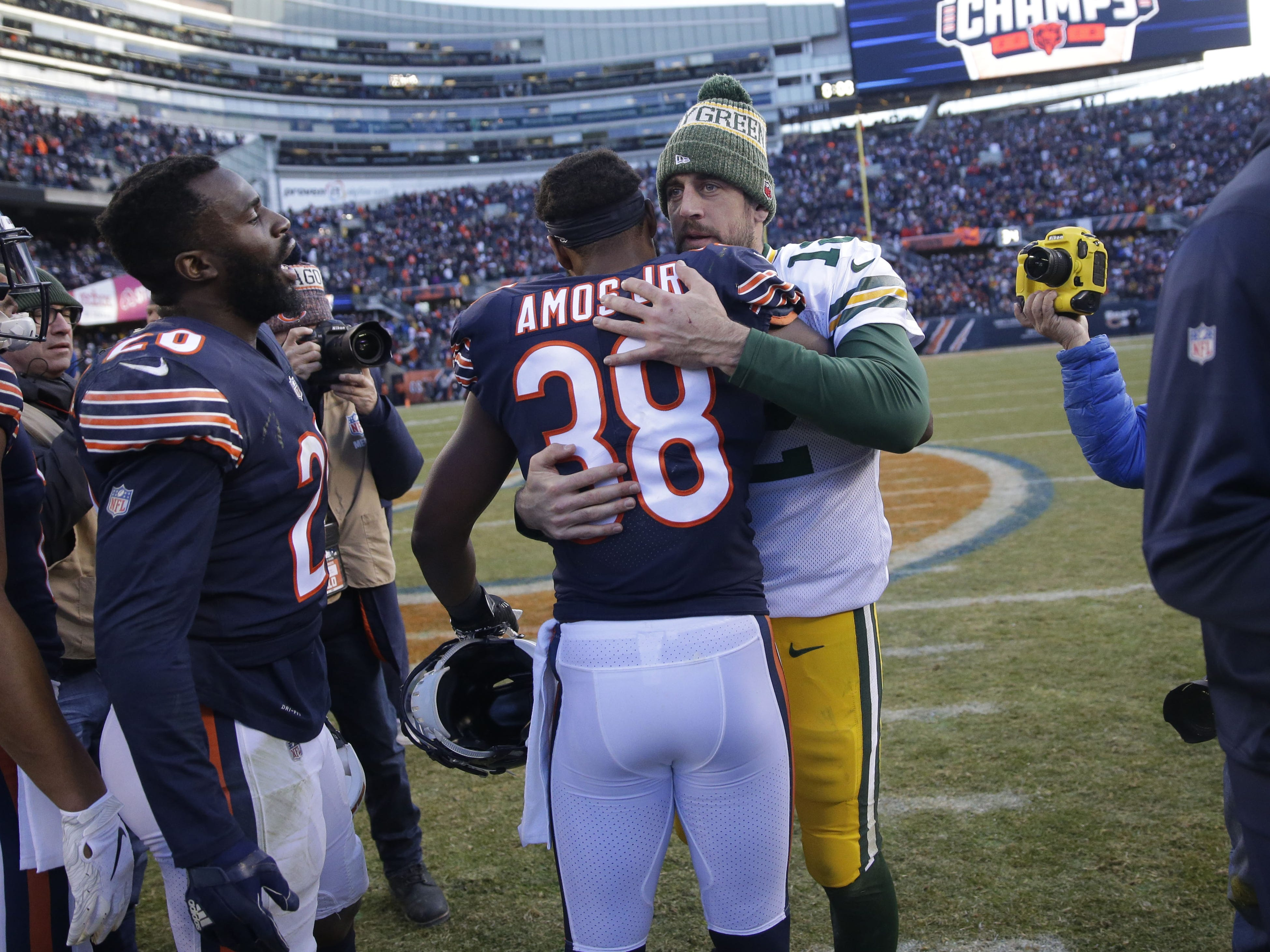 Green Bay Packers' Aaron Rodgers greets Chicago Bears' Adrian Amos  after the 2nd half of the Green Bay Packers 24-17 loss to the Chicago Bears at Soldier Field Sunday, Dec. 16, 2018, in Chicago. Photo by Mike De Sisti / The Milwaukee Journal Sentinel