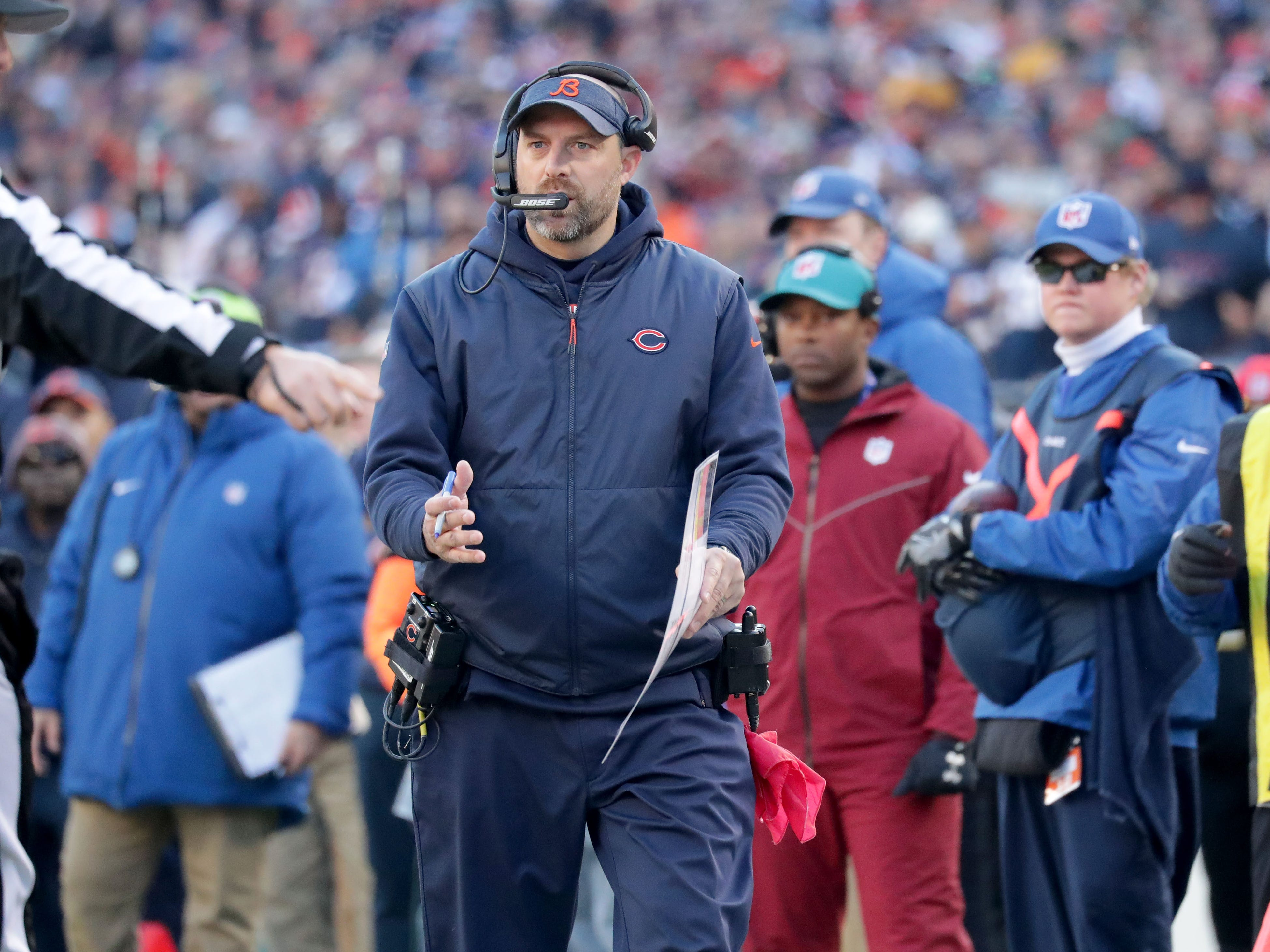 Chicago Bears' head coach Matt Nagy talks to a ref during the 2nd half of the Green Bay Packers 24-17 loss to the Chicago Bears at Soldier Field Sunday, Dec. 16, 2018, in Chicago. Photo by Mike De Sisti / The Milwaukee Journal Sentinel