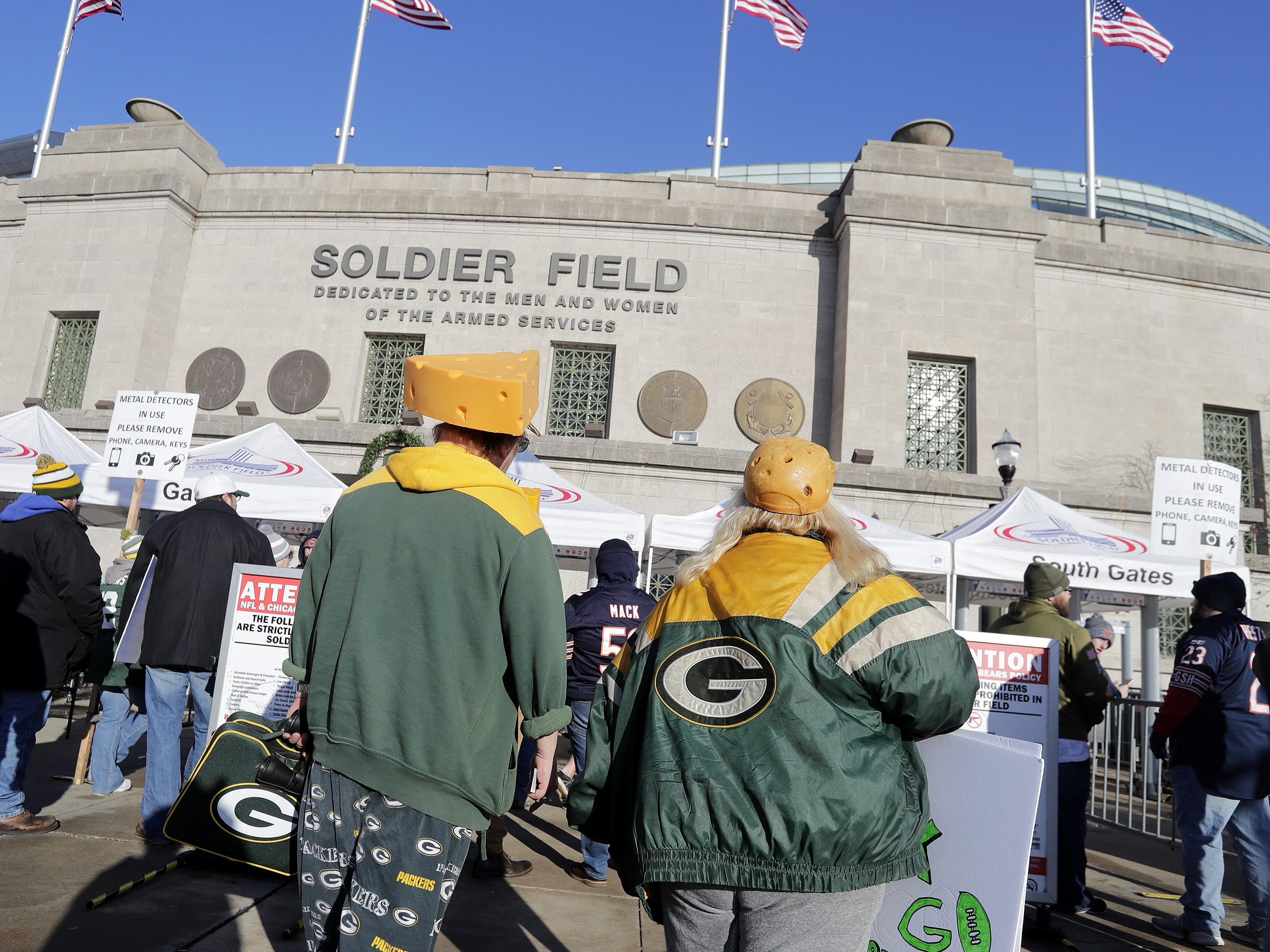 Fans arrive for the Packers game against the Bears at Soldier Field on Sunday, December 16, 2018 in Chicago, Illinois.