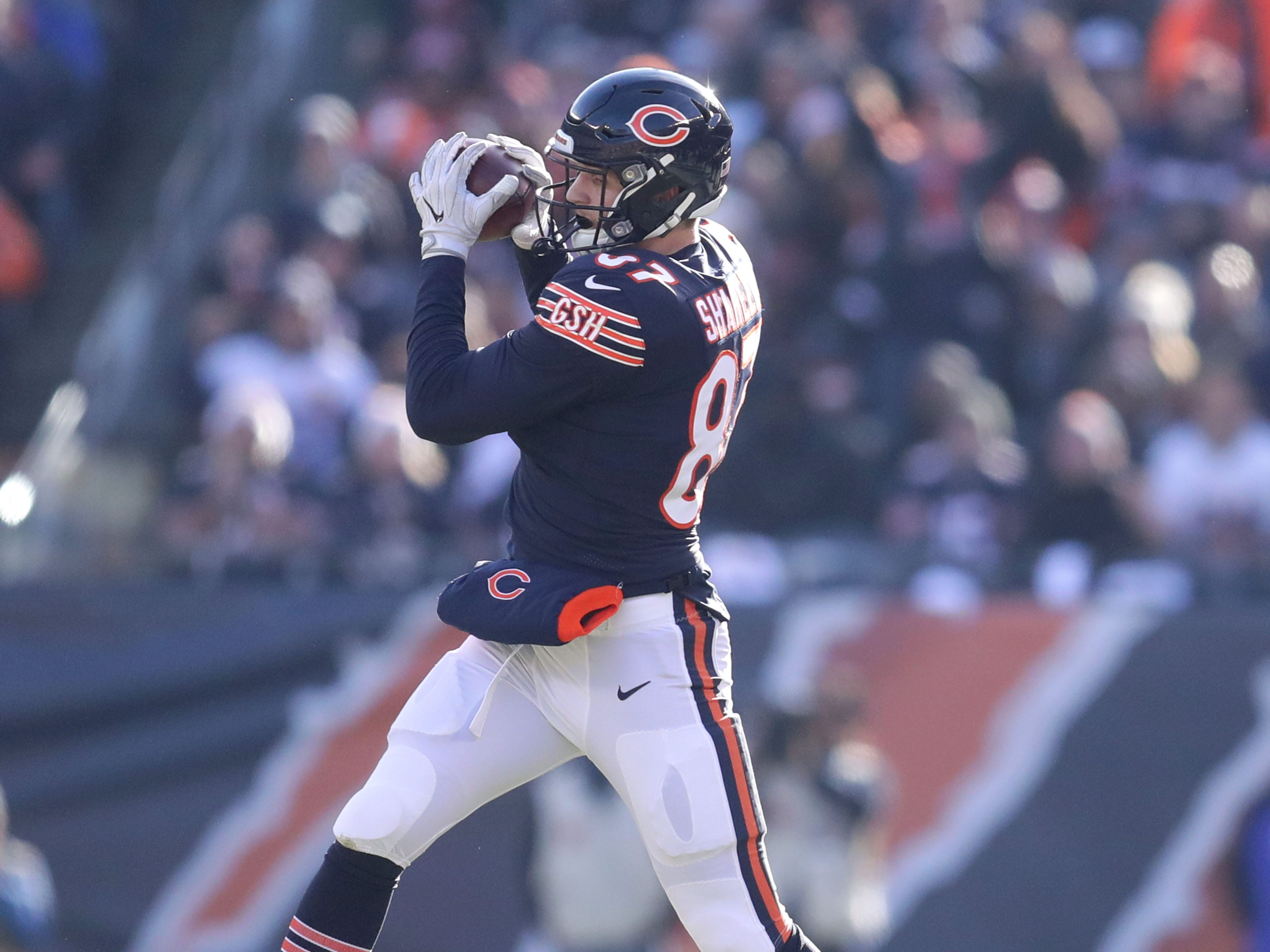 Chicago Bears' Adam Shaheen takes a catch during the 1st half of the Green Bay Packers game against the Chicago Bears at Soldier Field Sunday, Dec. 16, 2018, in Chicago. Photo by Mike De Sisti / The Milwaukee Journal Sentinel