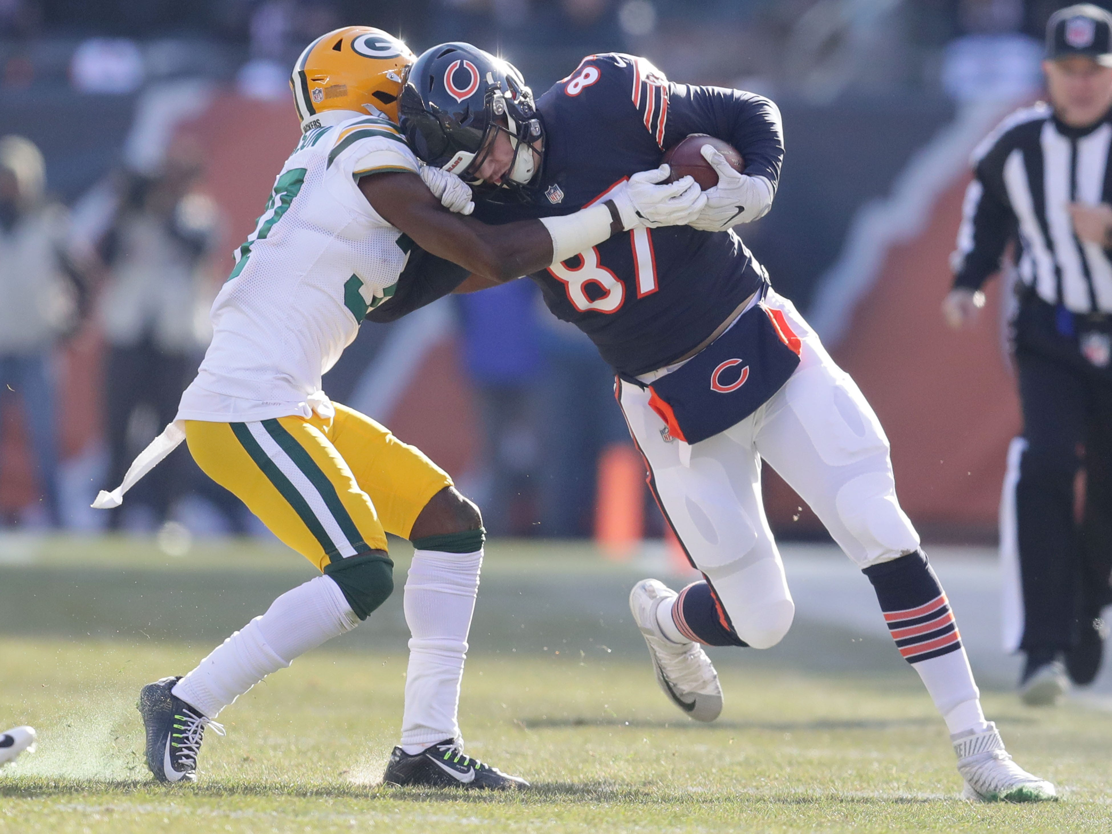 Green Bay Packers' Josh Jackson tackles Chicago Bears' Adam Shaheen during the 1st half of the Green Bay Packers game against the Chicago Bears at Soldier Field Sunday, Dec. 16, 2018, in Chicago. Photo by Mike De Sisti / The Milwaukee Journal Sentinel