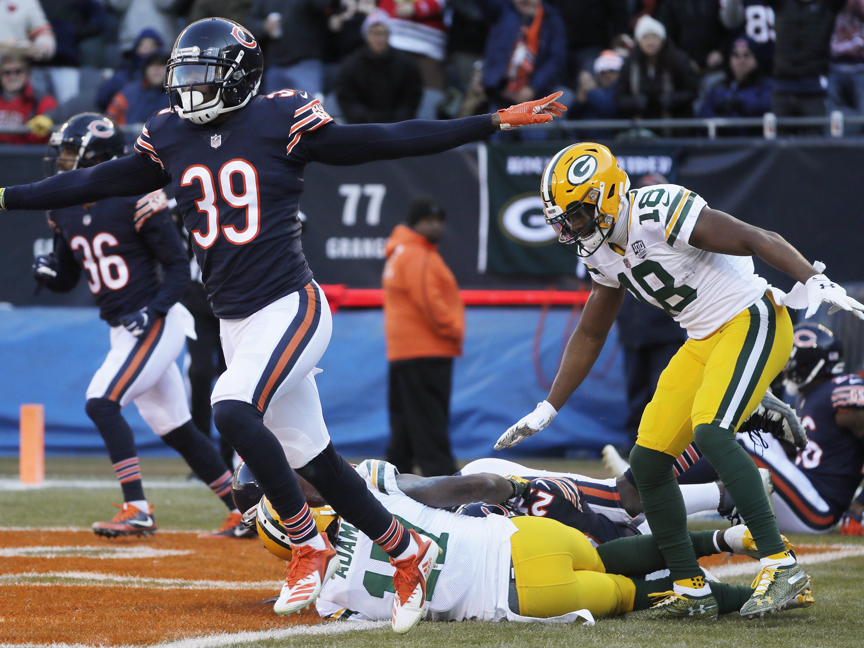 Chicago Bears free safety Eddie Jackson (39) celebrates after a Green Bay Packers incomplete pass in the end zone at the end of the second quarter at Soldier Field on Sunday, December 16, 2018 in Chicago, Illinois. Adam Wesley/USA TODAY NETWORK-Wis