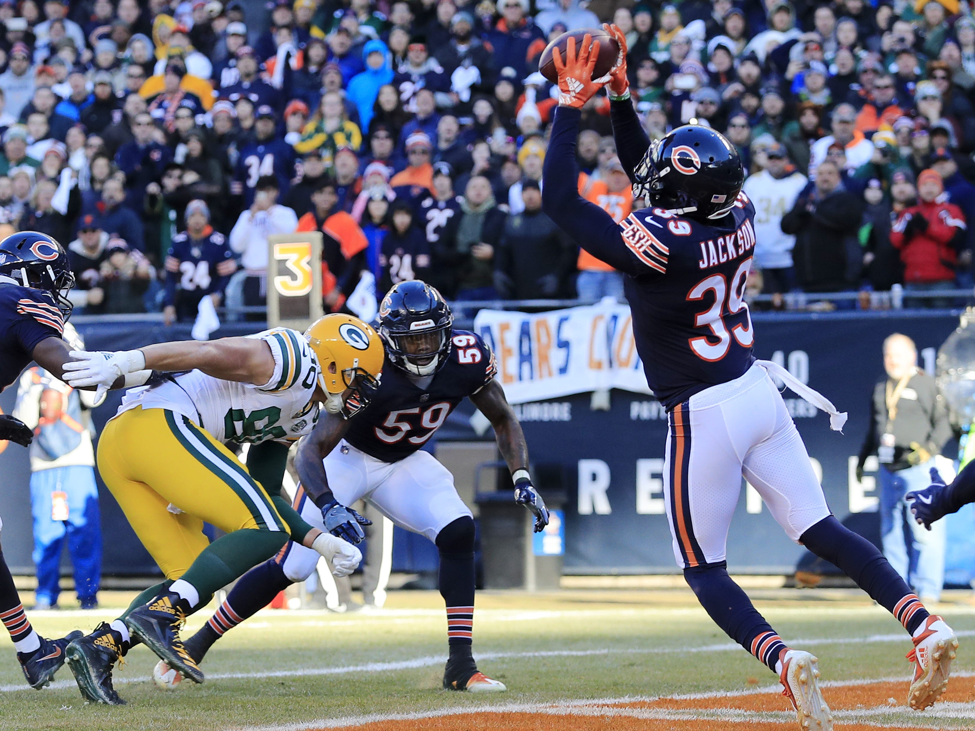 Chicago Bears free safety Eddie Jackson (39) intercepts a pass in the end zone in the fourth quarter against the Green Bay Packers at Soldier Field on Sunday, December 16, 2018 in Chicago, Illinois. Adam Wesley/USA TODAY NETWORK-Wis