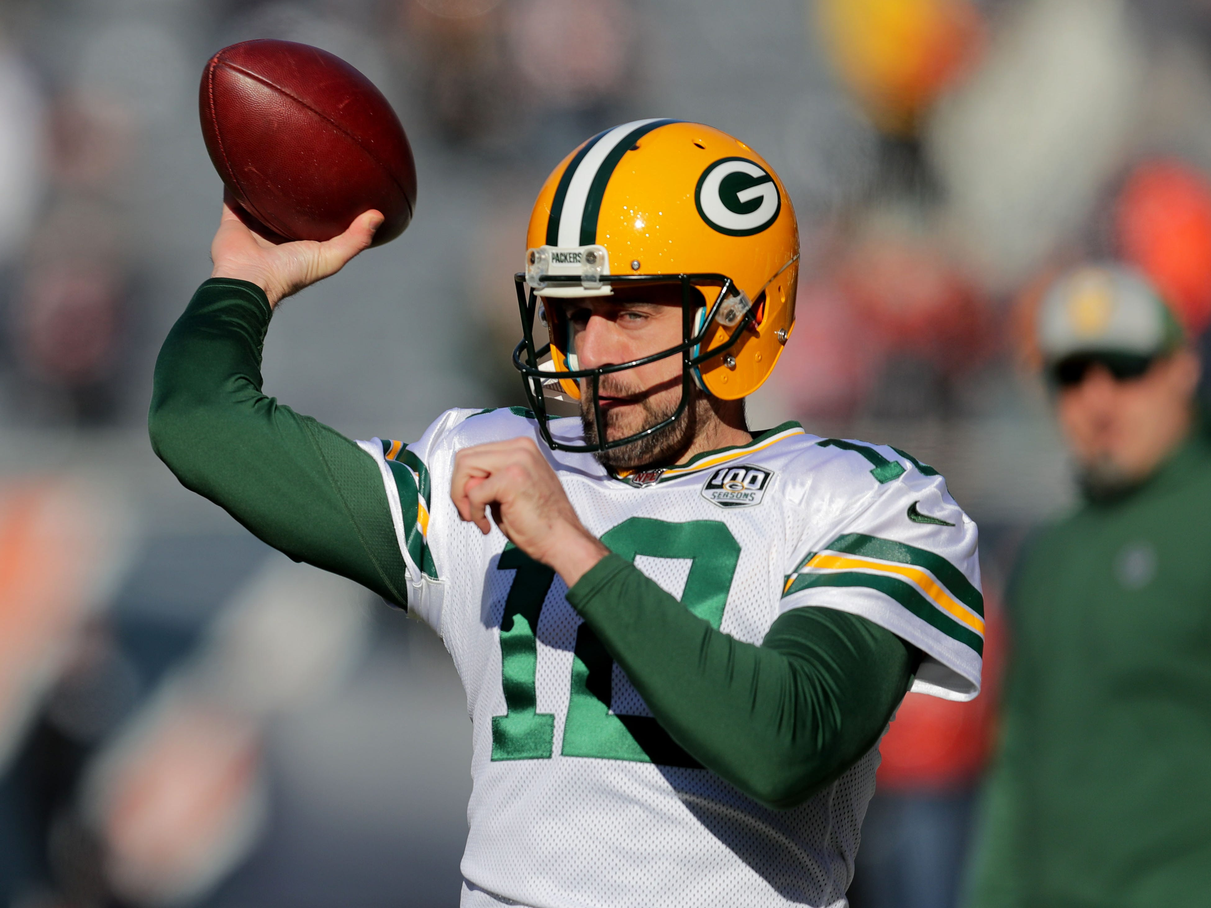 Green Bay Packers' Aaron Rodgers warms up before the Green Bay Packers game against the Chicago Bears at Soldier Field Sunday, Dec. 16, 2018, in Chicago.