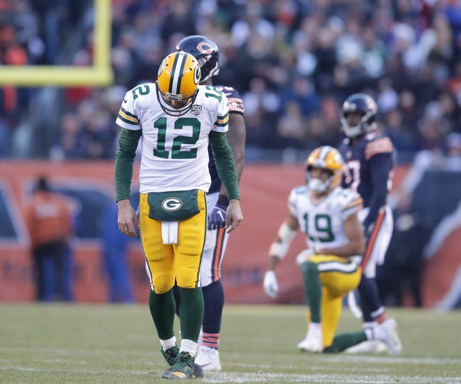 Green Bay Packers' Aaron Rodgers is dejected after not converting on 3rd down during the 2nd half of the Green Bay Packers 24-17 loss to the Chicago Bears at Soldier Field Sunday, Dec. 16, 2018, in Chicago. Photo by Mike De Sisti / The Milwaukee Journal Sentinel