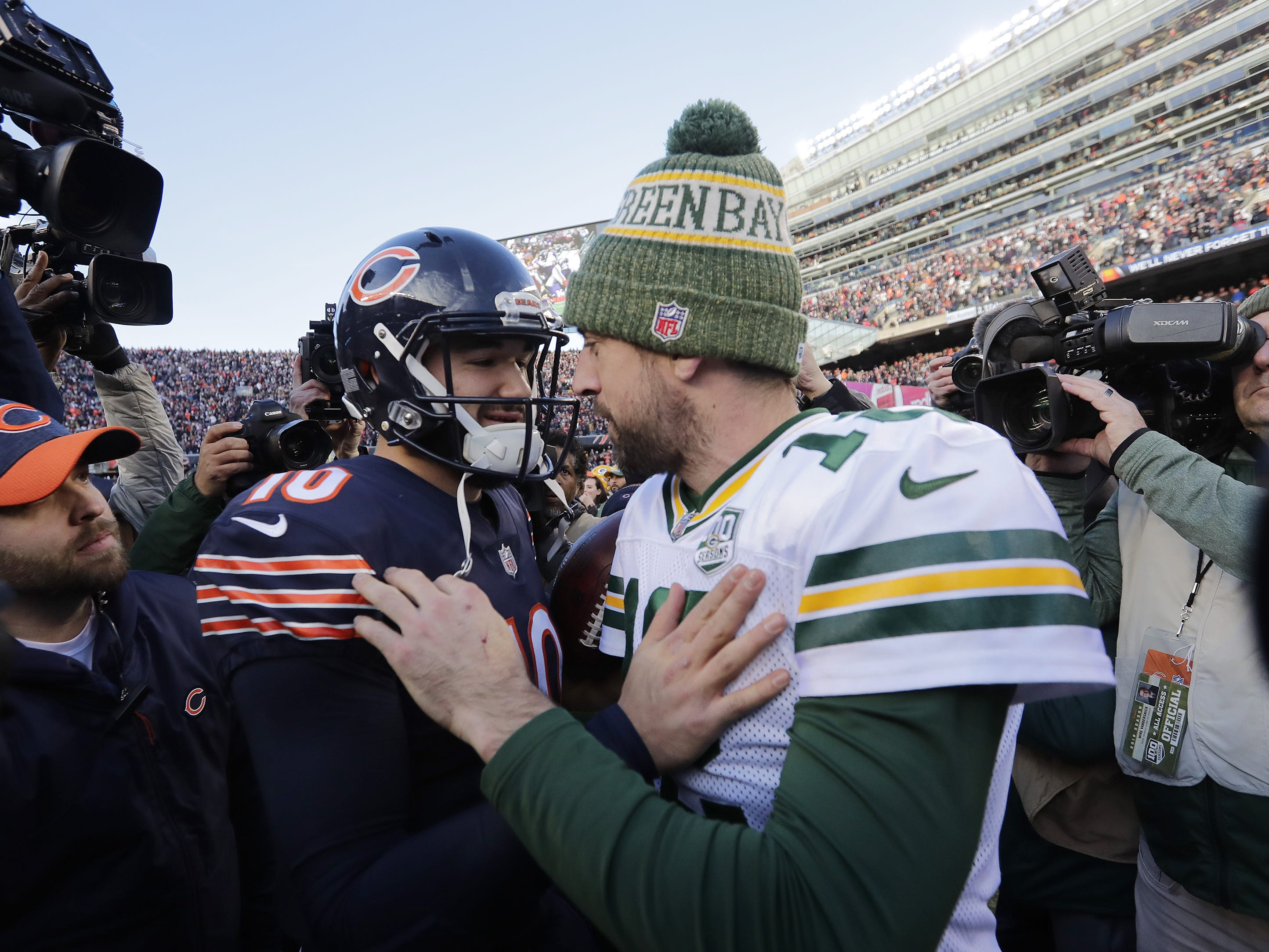 Green Bay Packers quarterback Aaron Rodgers (12) talks to Chicago Bears quarterback Mitchell Trubisky (10) after the Bears beat the Packers at Soldier Field on Sunday, December 16, 2018 in Chicago, Illinois. Adam Wesley/USA TODAY NETWORK-Wis