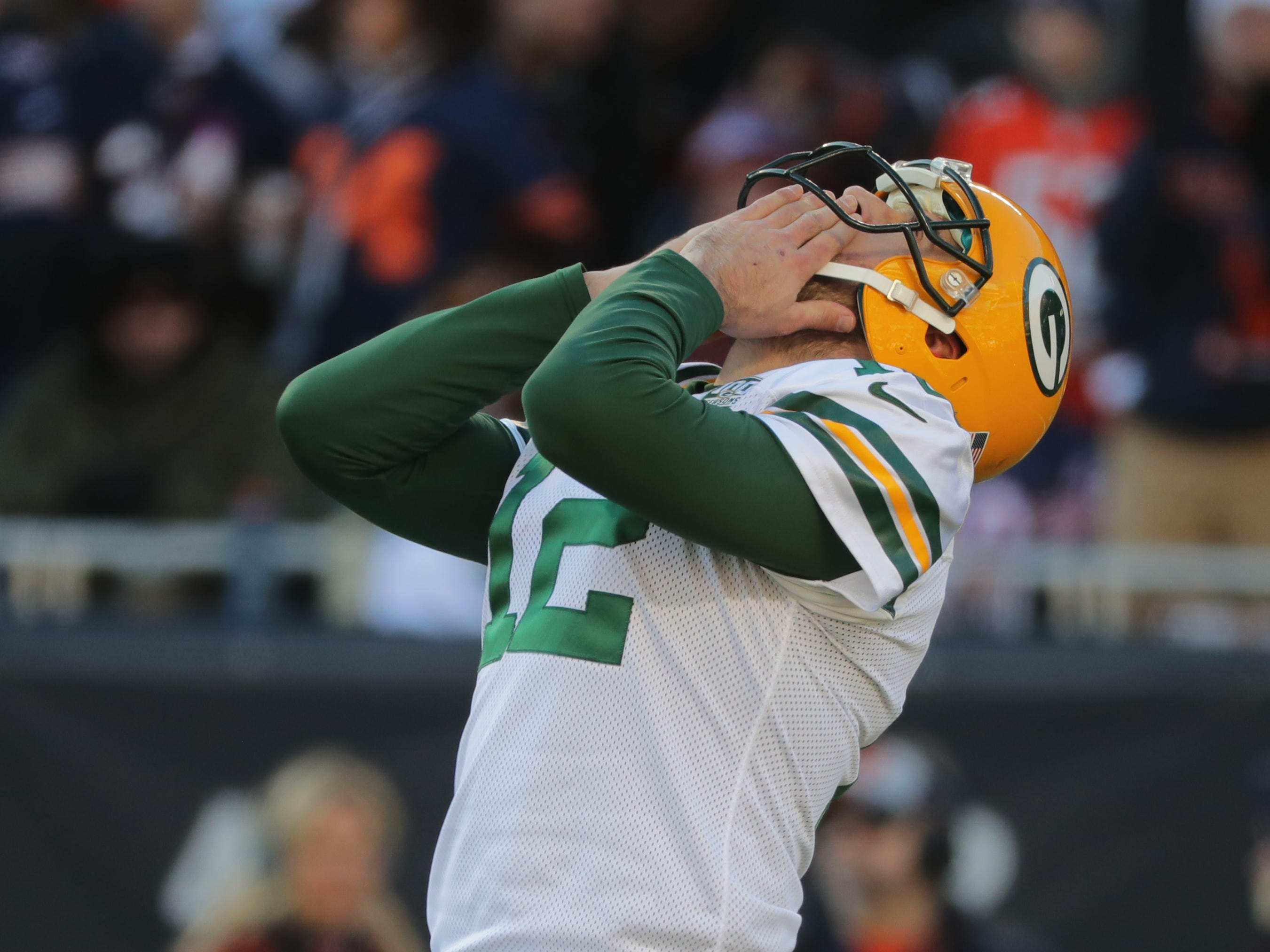 ALTENATE CROP -- TIGHTER IS BETTER -- Green Bay Packers quarterback Aaron Rodgers (12) reacts after throwing an incomplete pass during the fourth quarter of their game against the Chicago Bears Sunday, December 25, 2018 at Soldier Field in Chicago, Ill. The Chicago Bears beat the Green Bay Packers 24-17.  MARK HOFFMAN/MILWAUKEE JOURNAL SENTINEL