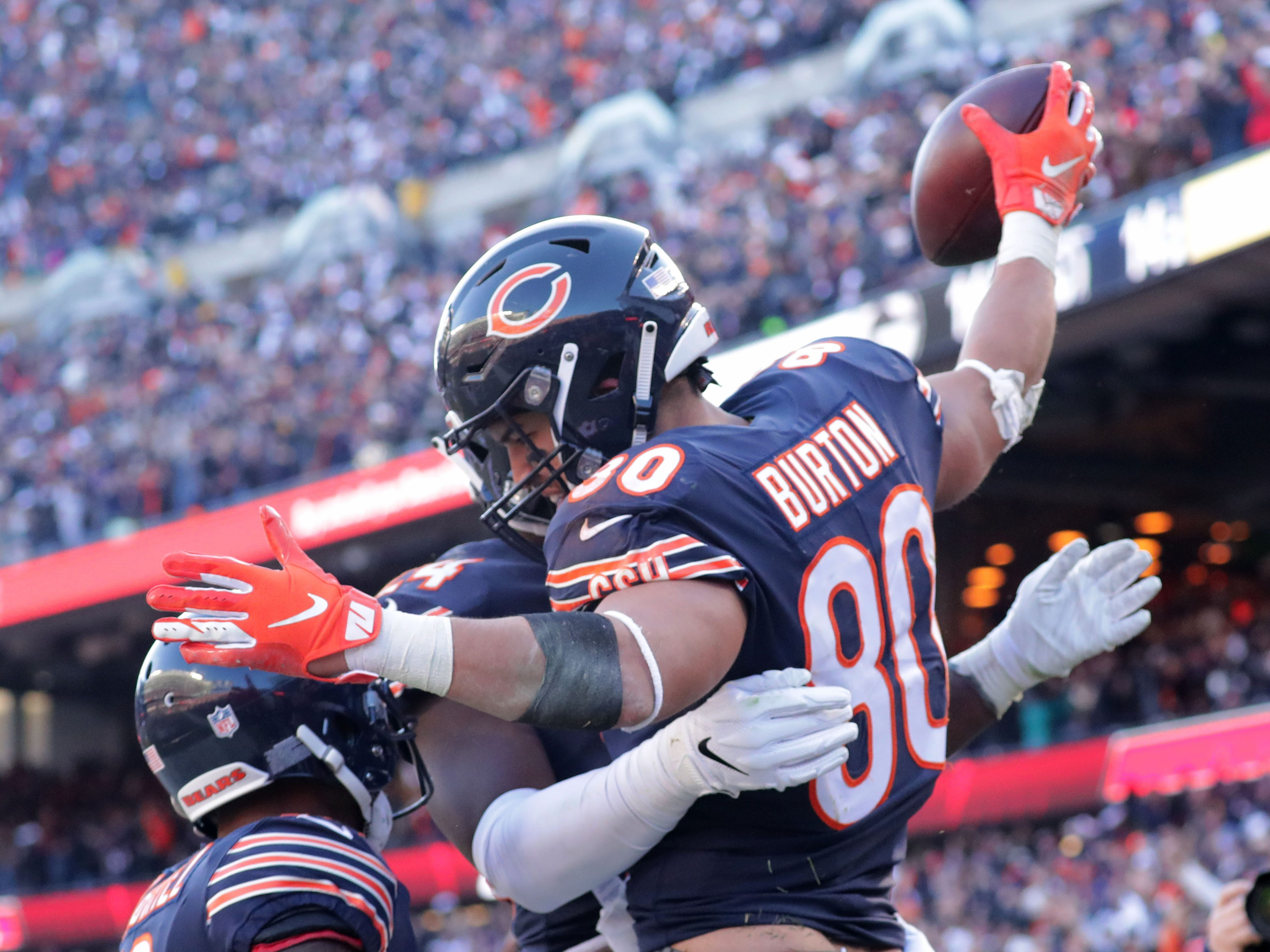 Chicago Bears' Trey Burton celebrates a touchdown during the 2nd half of the Green Bay Packers 24-17 loss to the Chicago Bears at Soldier Field Sunday, Dec. 16, 2018, in Chicago. Photo by Mike De Sisti / The Milwaukee Journal Sentinel