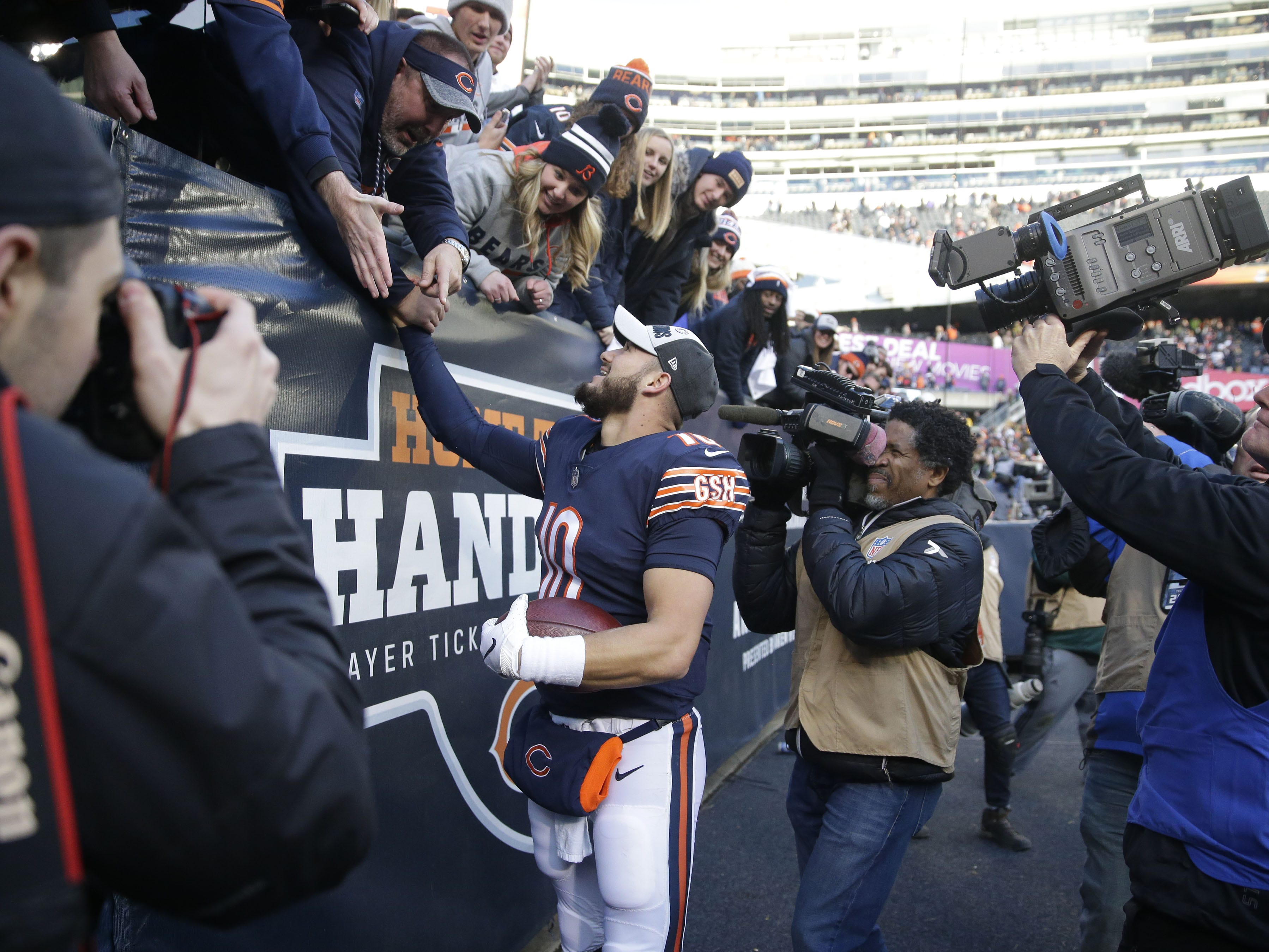 Chicago Bears' Mitchell Trubisky greets fans after the 2nd half of the Green Bay Packers 24-17 loss to the Chicago Bears at Soldier Field Sunday, Dec. 16, 2018, in Chicago. Photo by Mike De Sisti / The Milwaukee Journal Sentinel