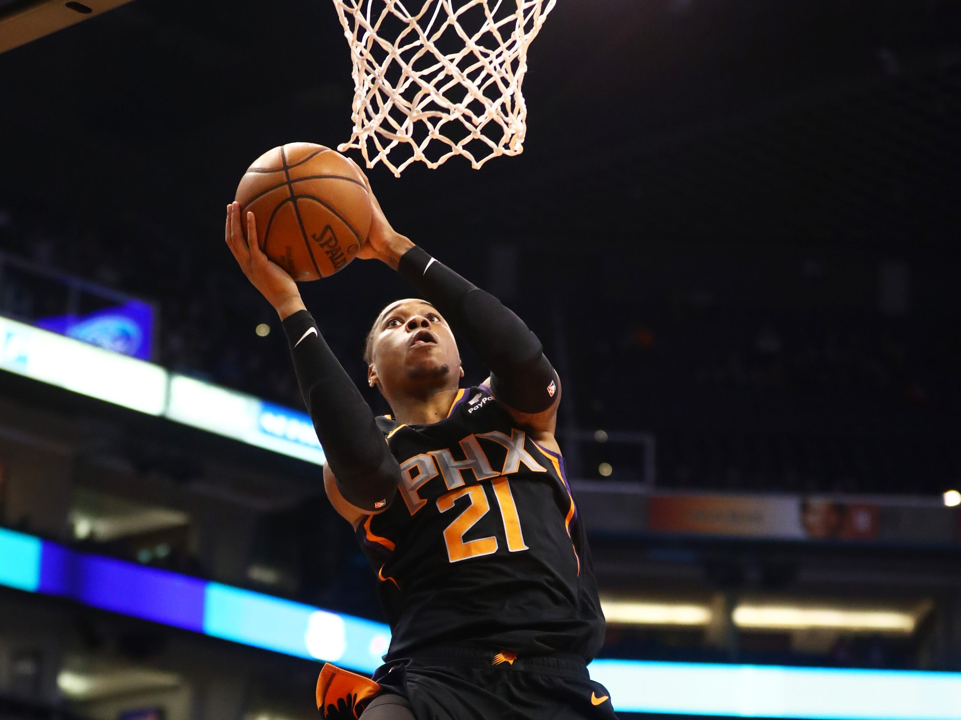 Dec 15, 2018; Phoenix, AZ, USA; Phoenix Suns forward Richaun Holmes (21) drives to the basket in the first half against the Minnesota Timberwolves at Talking Stick Resort Arena. Mandatory Credit: Mark J. Rebilas-USA TODAY Sports